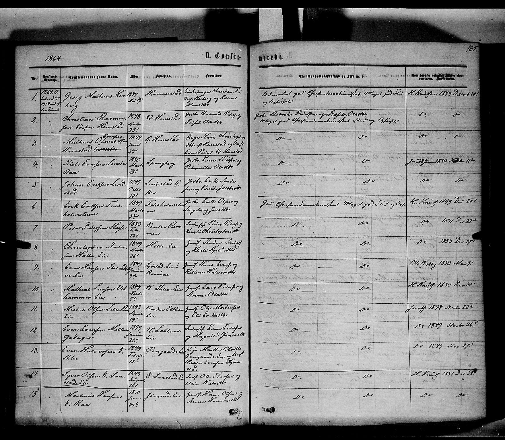 SAH, Stange prestekontor, K/L0013: Parish register (official) no. 13, 1862-1879, p. 165