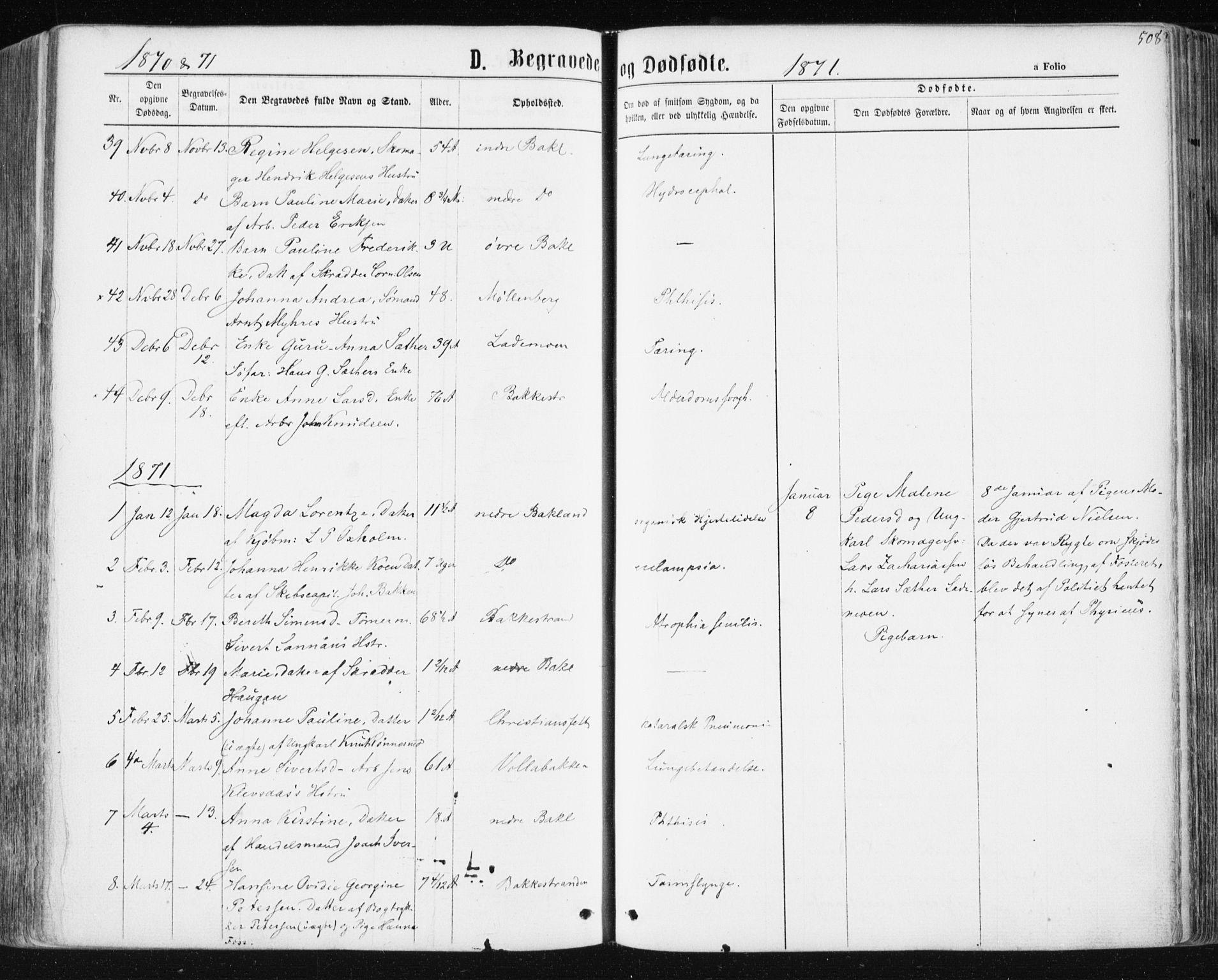 SAT, Ministerialprotokoller, klokkerbøker og fødselsregistre - Sør-Trøndelag, 604/L0186: Ministerialbok nr. 604A07, 1866-1877, s. 508