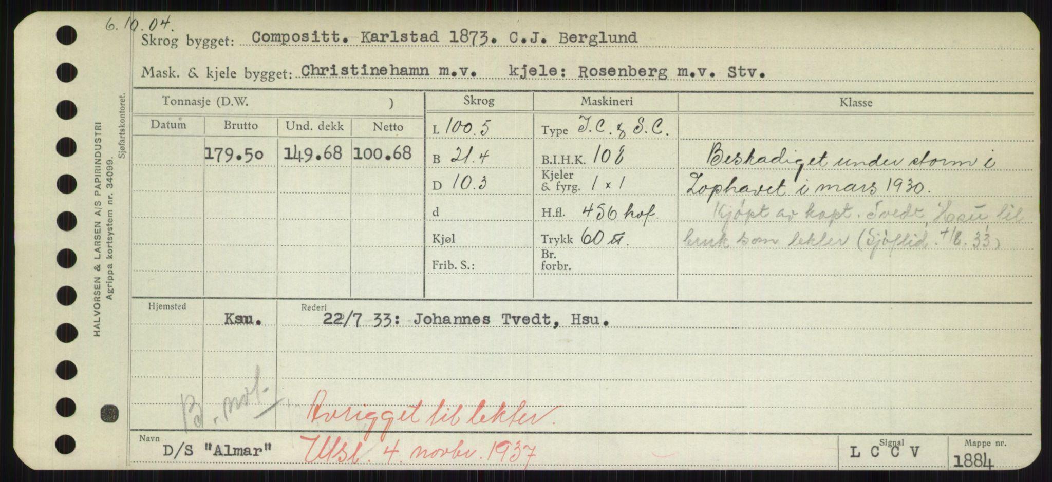 RA, Sjøfartsdirektoratet med forløpere, Skipsmålingen, H/Hd/L0001: Fartøy, A-Anv, s. 381