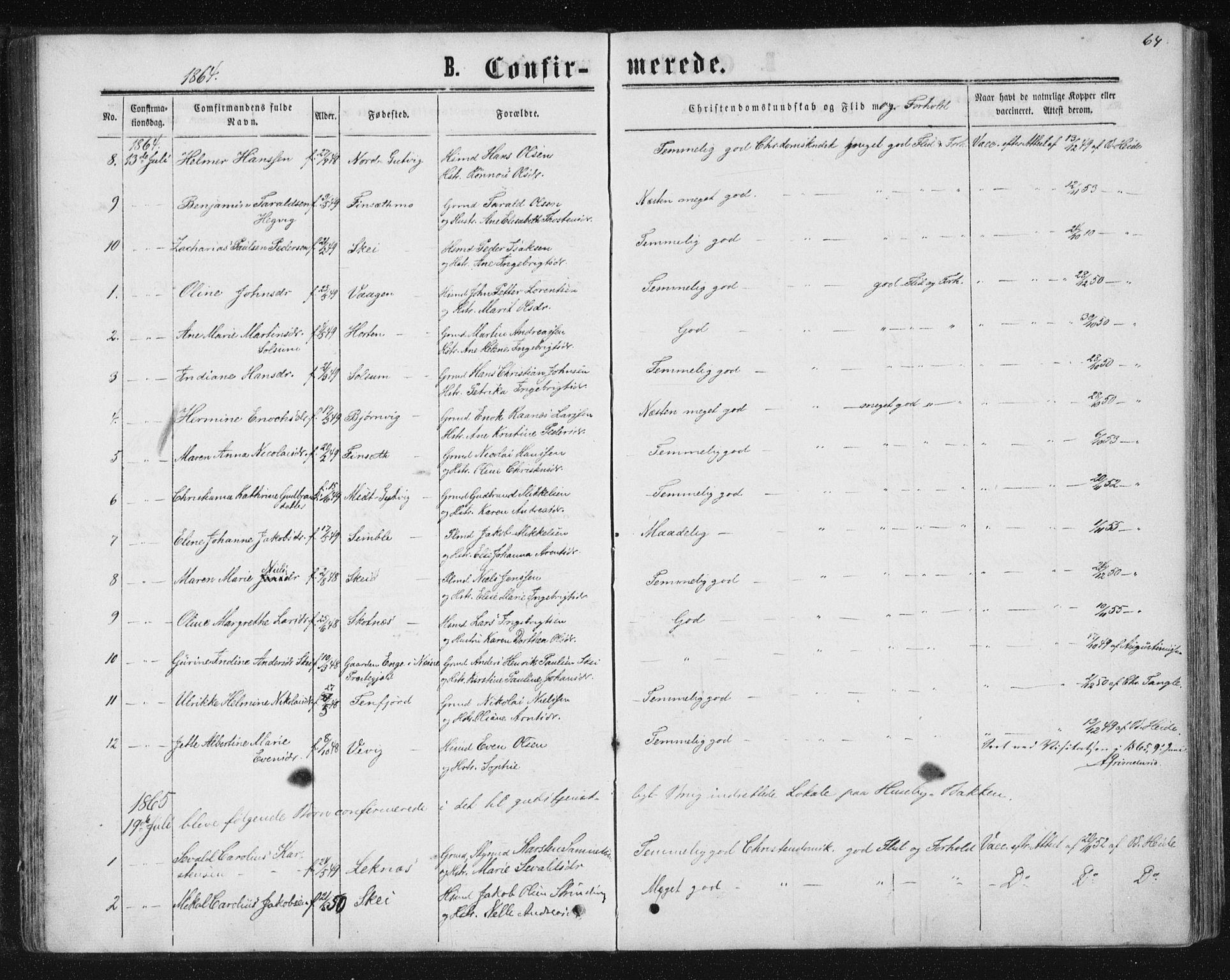 SAT, Ministerialprotokoller, klokkerbøker og fødselsregistre - Nord-Trøndelag, 788/L0696: Ministerialbok nr. 788A03, 1863-1877, s. 64