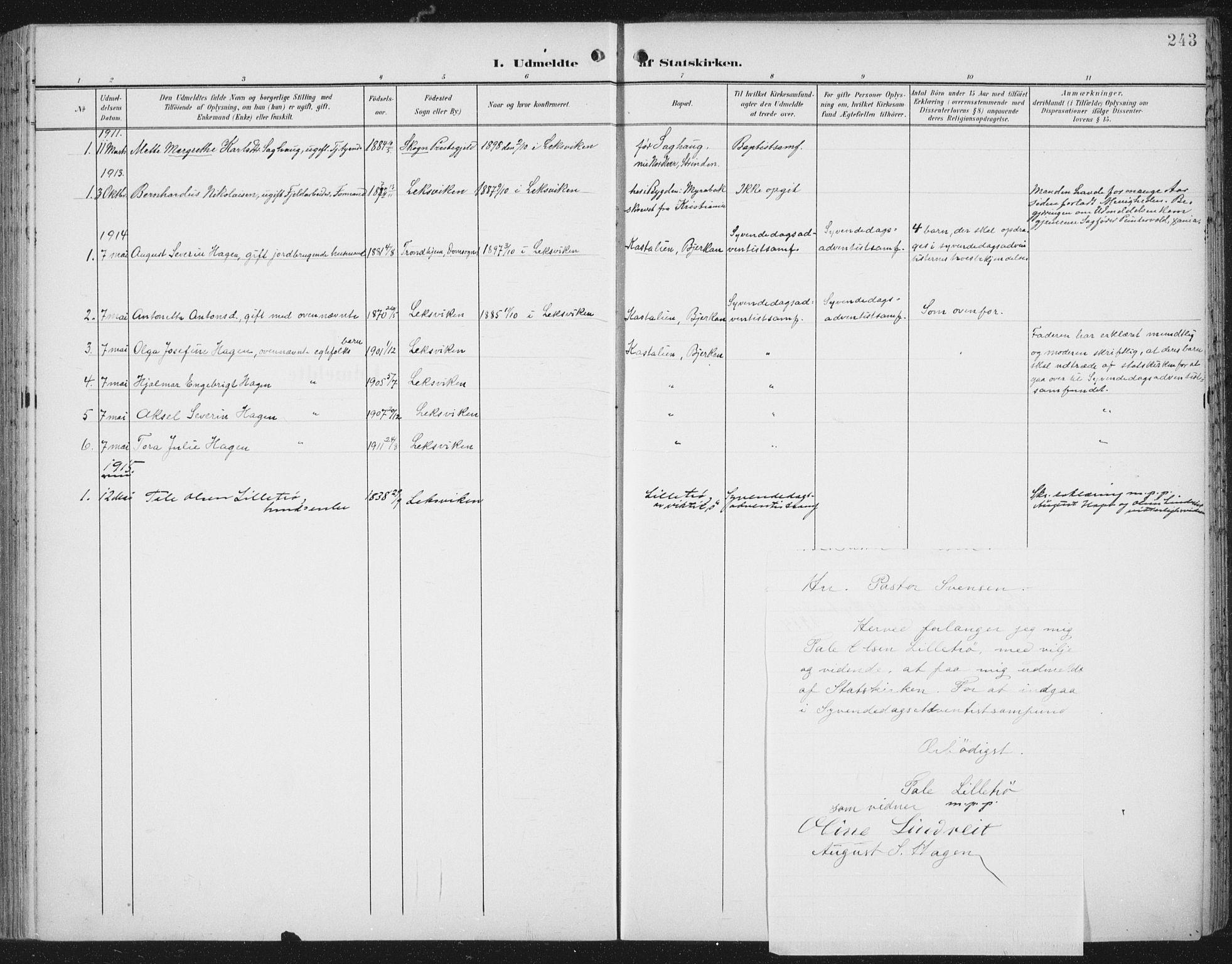 SAT, Ministerialprotokoller, klokkerbøker og fødselsregistre - Nord-Trøndelag, 701/L0011: Ministerialbok nr. 701A11, 1899-1915, s. 243
