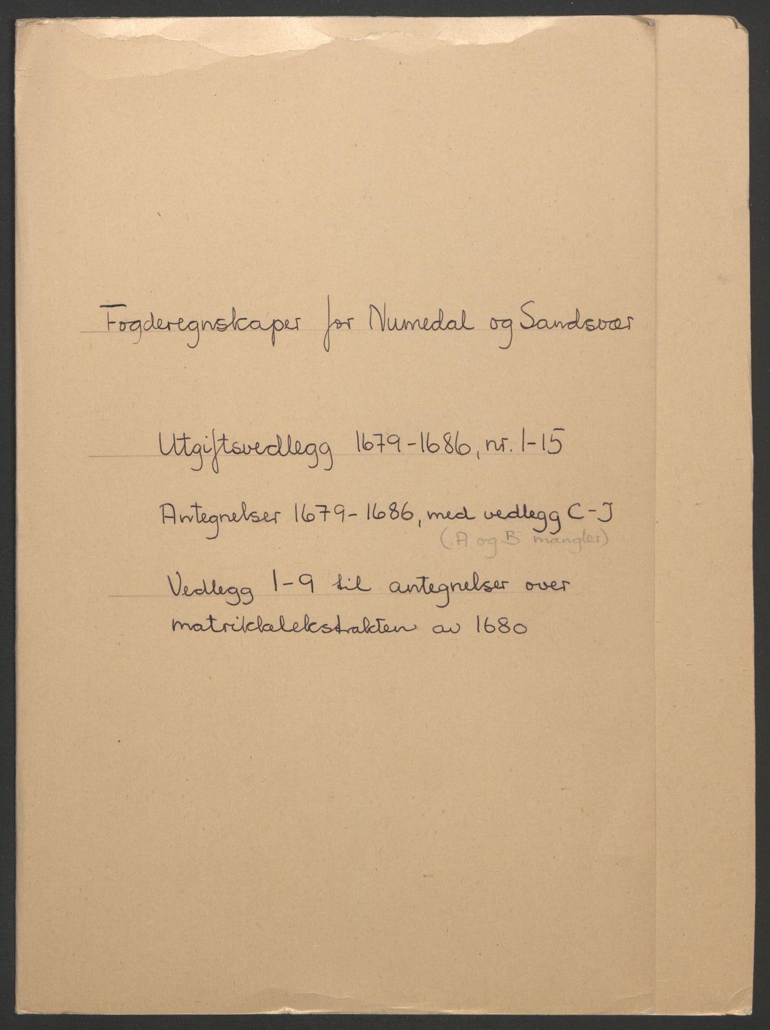 RA, Rentekammeret inntil 1814, Reviderte regnskaper, Fogderegnskap, R24/L1572: Fogderegnskap Numedal og Sandsvær, 1679-1686, s. 195