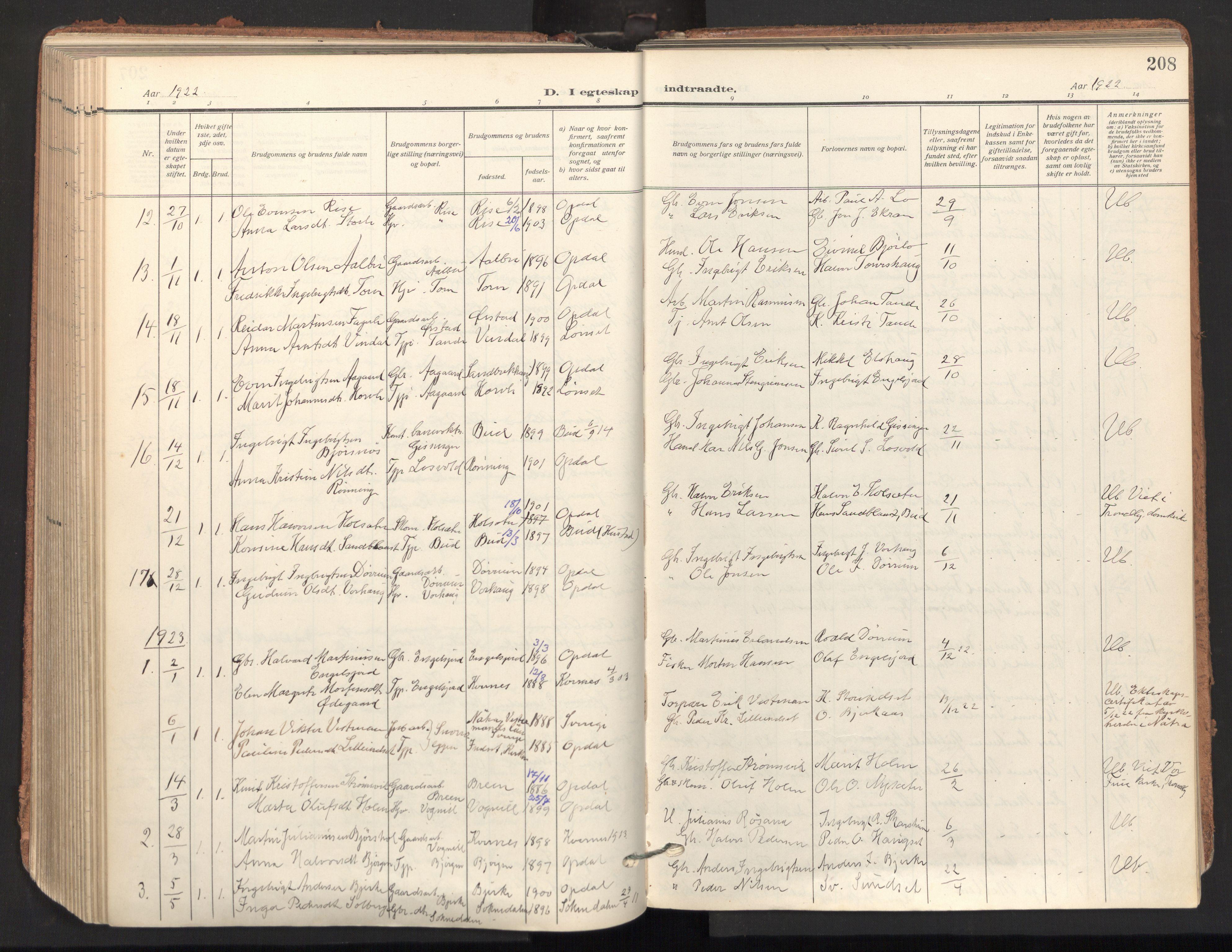 SAT, Ministerialprotokoller, klokkerbøker og fødselsregistre - Sør-Trøndelag, 678/L0909: Ministerialbok nr. 678A17, 1912-1930, s. 208