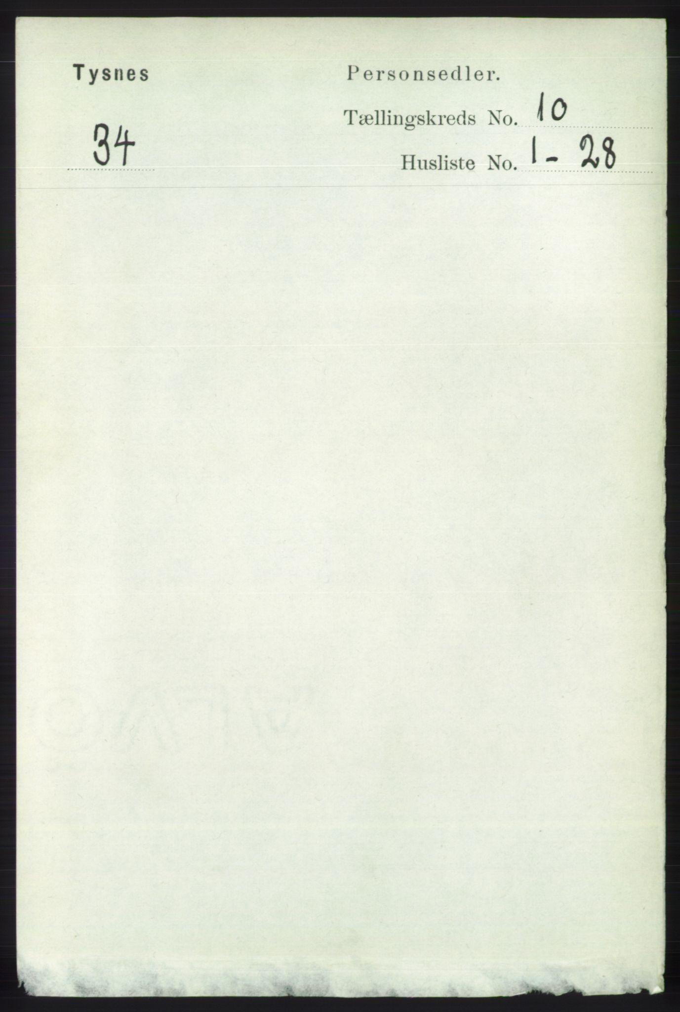 RA, Folketelling 1891 for 1223 Tysnes herred, 1891, s. 4854