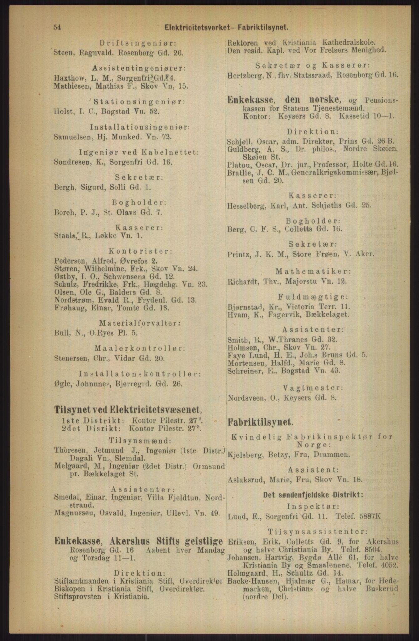 RA, Kristiania adressebok (publikasjon)*, 1911, s. 54