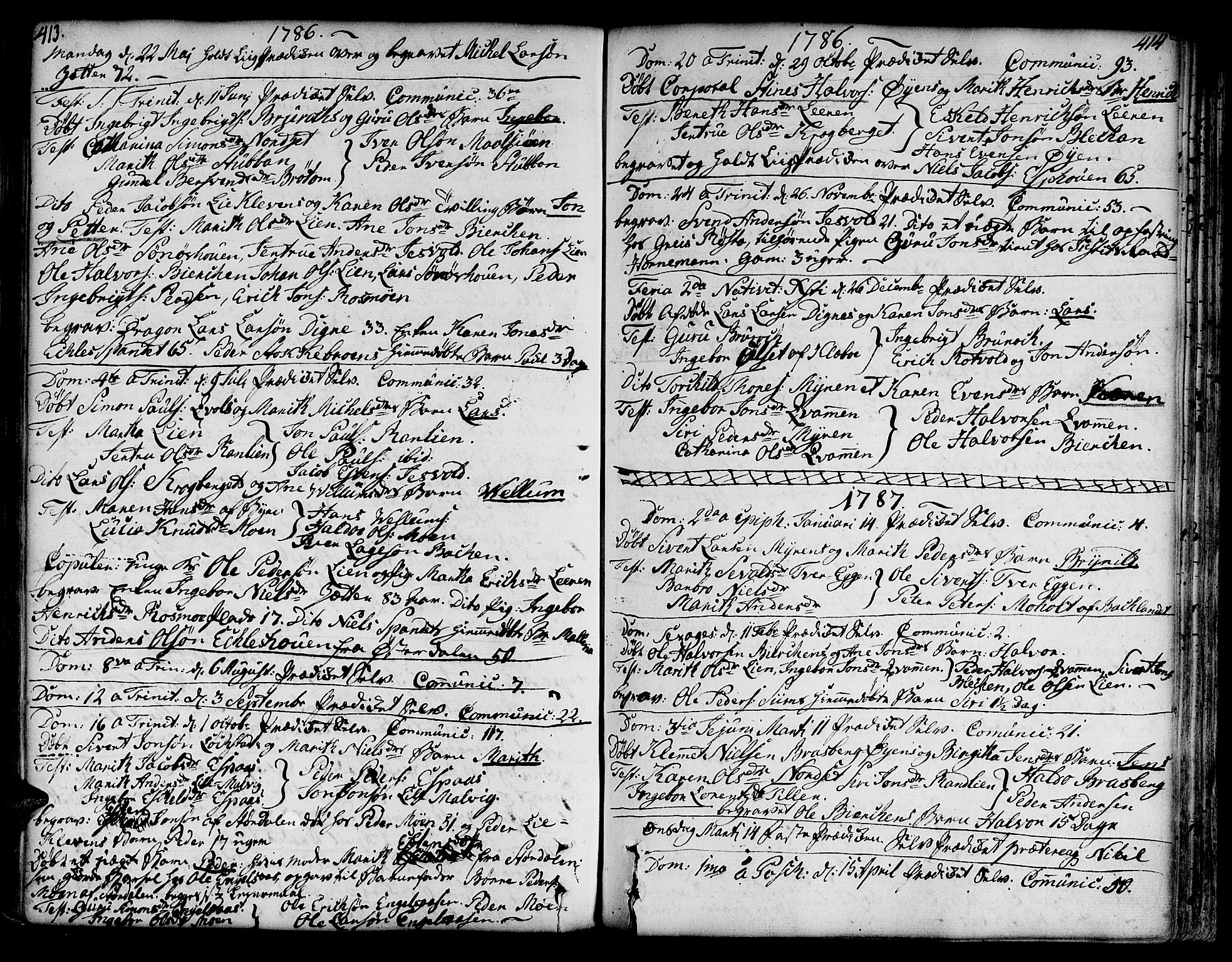 SAT, Ministerialprotokoller, klokkerbøker og fødselsregistre - Sør-Trøndelag, 606/L0282: Ministerialbok nr. 606A02 /3, 1781-1817, s. 413-414