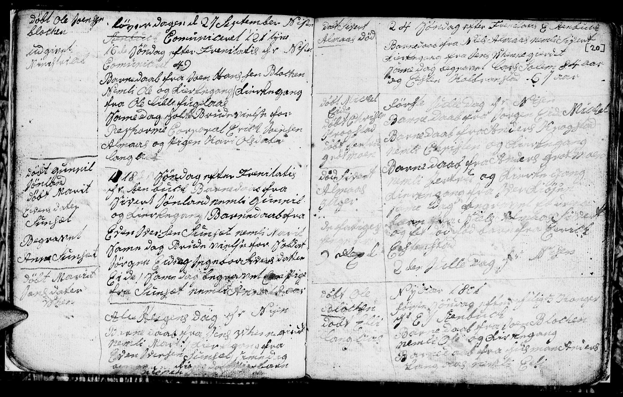 SAT, Ministerialprotokoller, klokkerbøker og fødselsregistre - Sør-Trøndelag, 694/L1129: Klokkerbok nr. 694C01, 1793-1815, s. 20