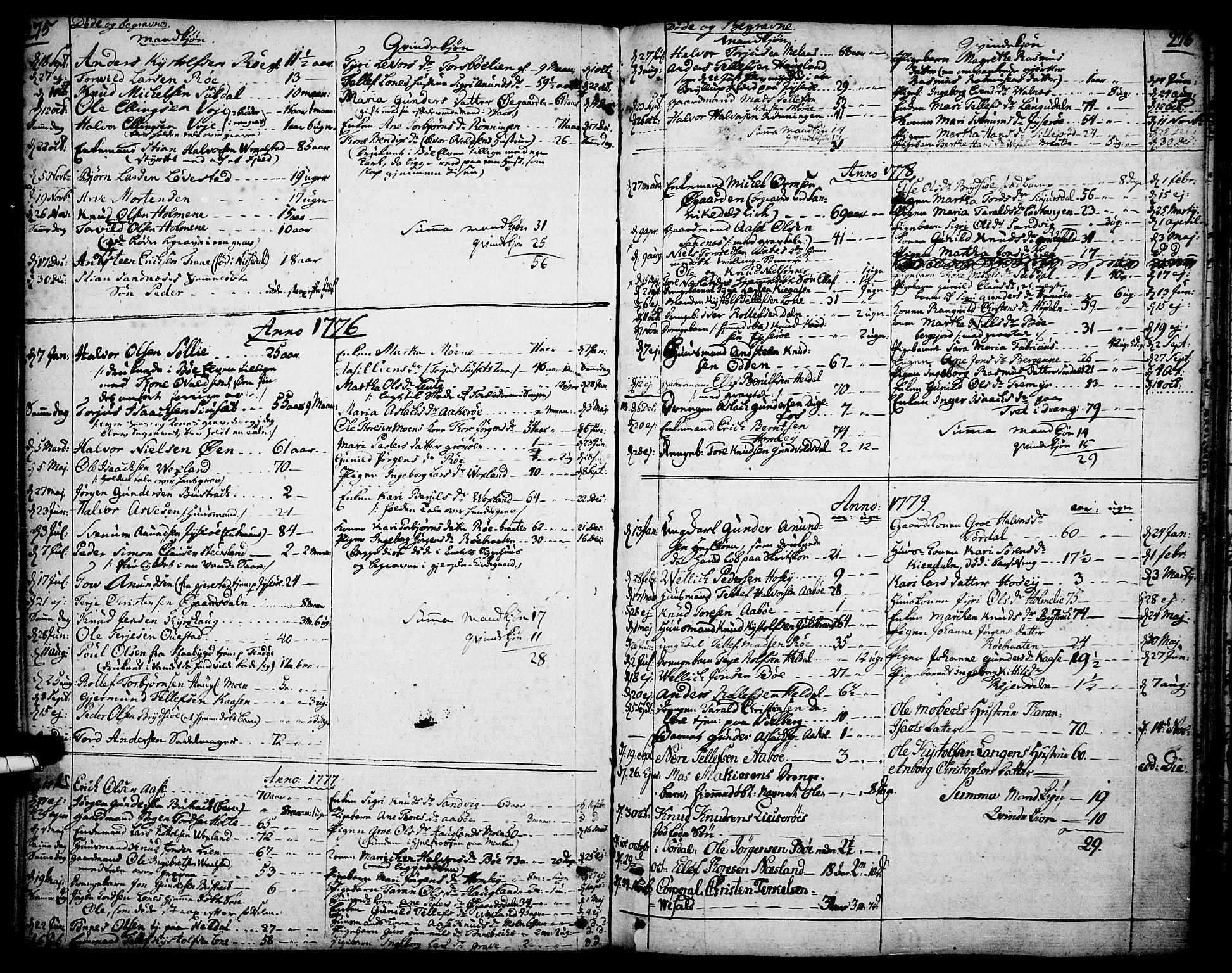 SAKO, Drangedal kirkebøker, F/Fa/L0003: Ministerialbok nr. 3, 1768-1814, s. 275-276