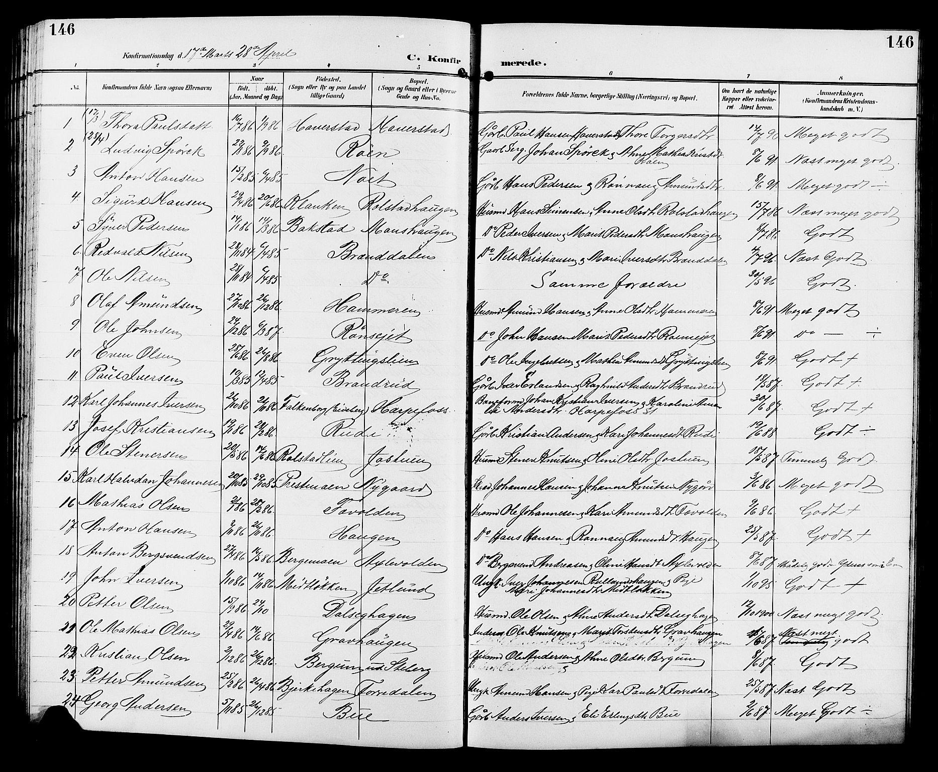 SAH, Sør-Fron prestekontor, H/Ha/Hab/L0004: Klokkerbok nr. 4, 1896-1911, s. 146