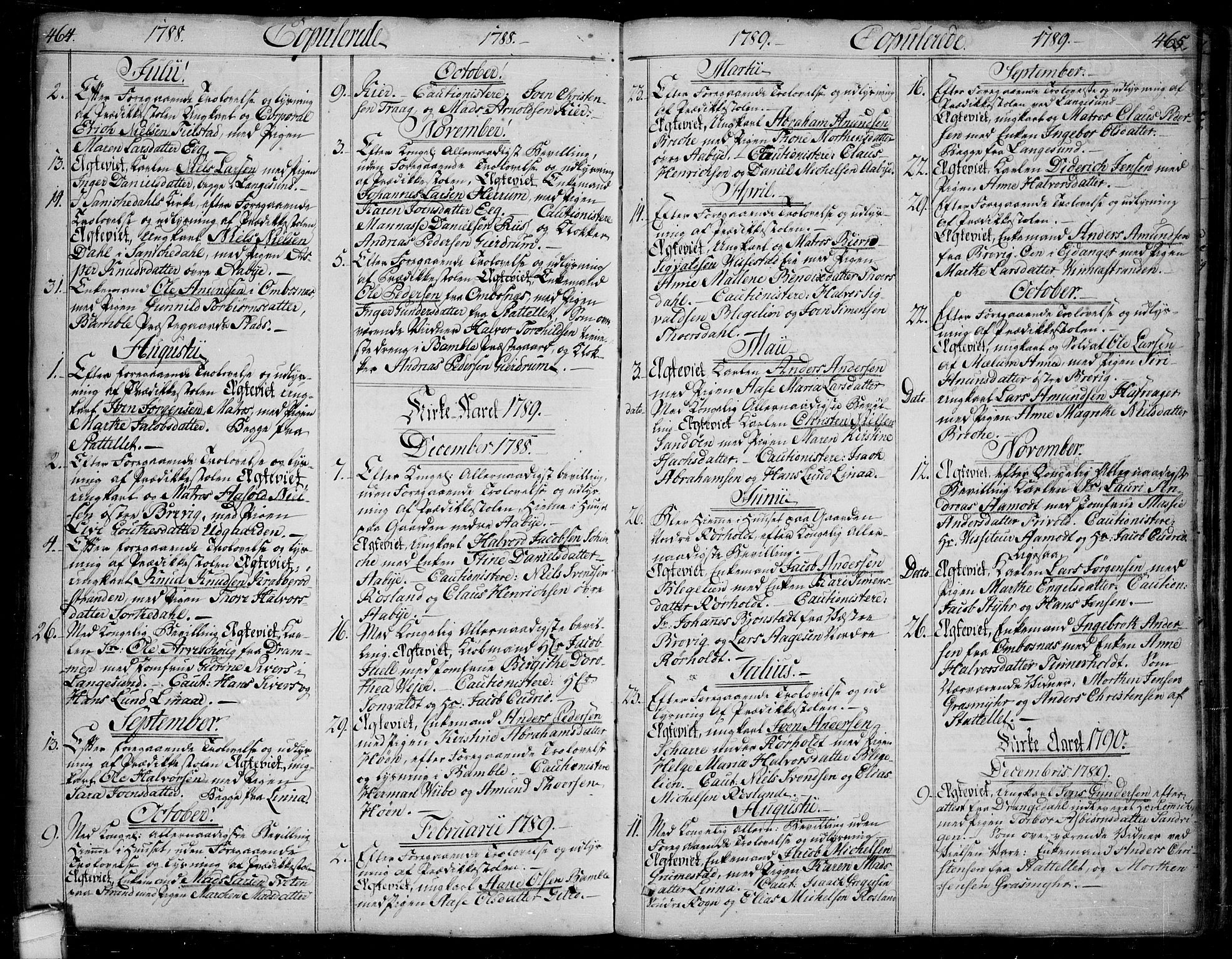 SAKO, Bamble kirkebøker, F/Fa/L0002: Ministerialbok nr. I 2, 1775-1814, s. 464-465