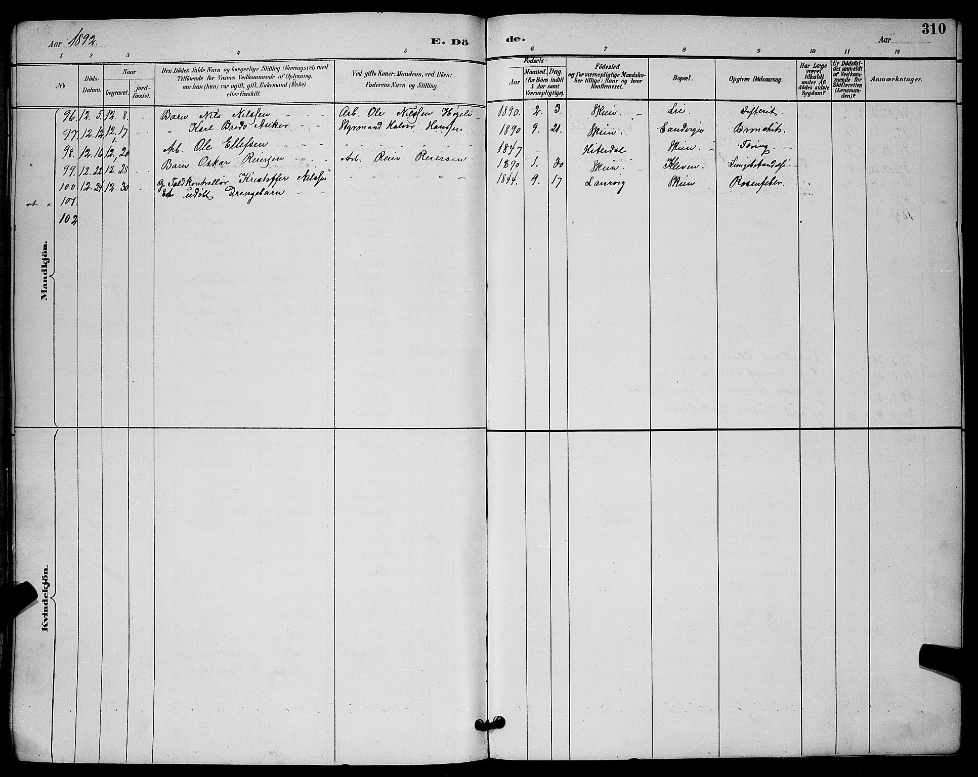 SAKO, Skien kirkebøker, G/Ga/L0007: Klokkerbok nr. 7, 1891-1900, s. 310