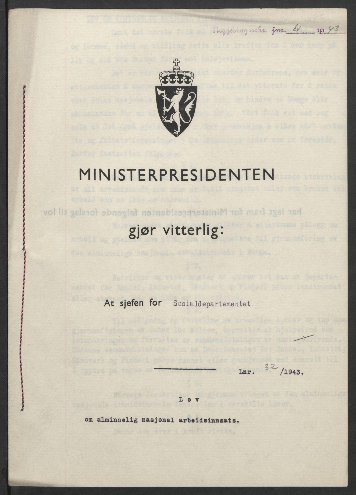 RA, NS-administrasjonen 1940-1945 (Statsrådsekretariatet, de kommisariske statsråder mm), D/Db/L0099: Lover, 1943, s. 132