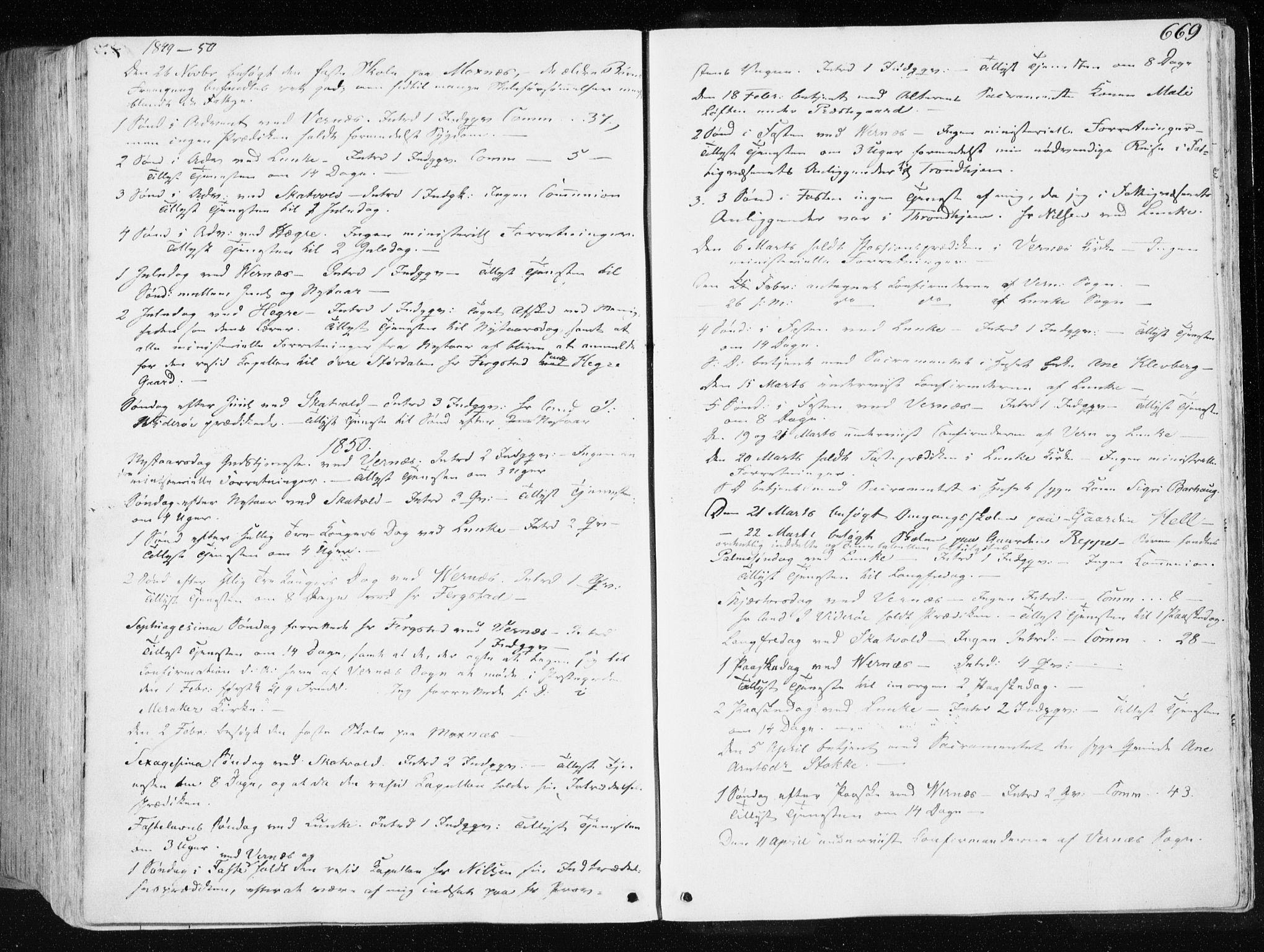 SAT, Ministerialprotokoller, klokkerbøker og fødselsregistre - Nord-Trøndelag, 709/L0074: Ministerialbok nr. 709A14, 1845-1858, s. 669