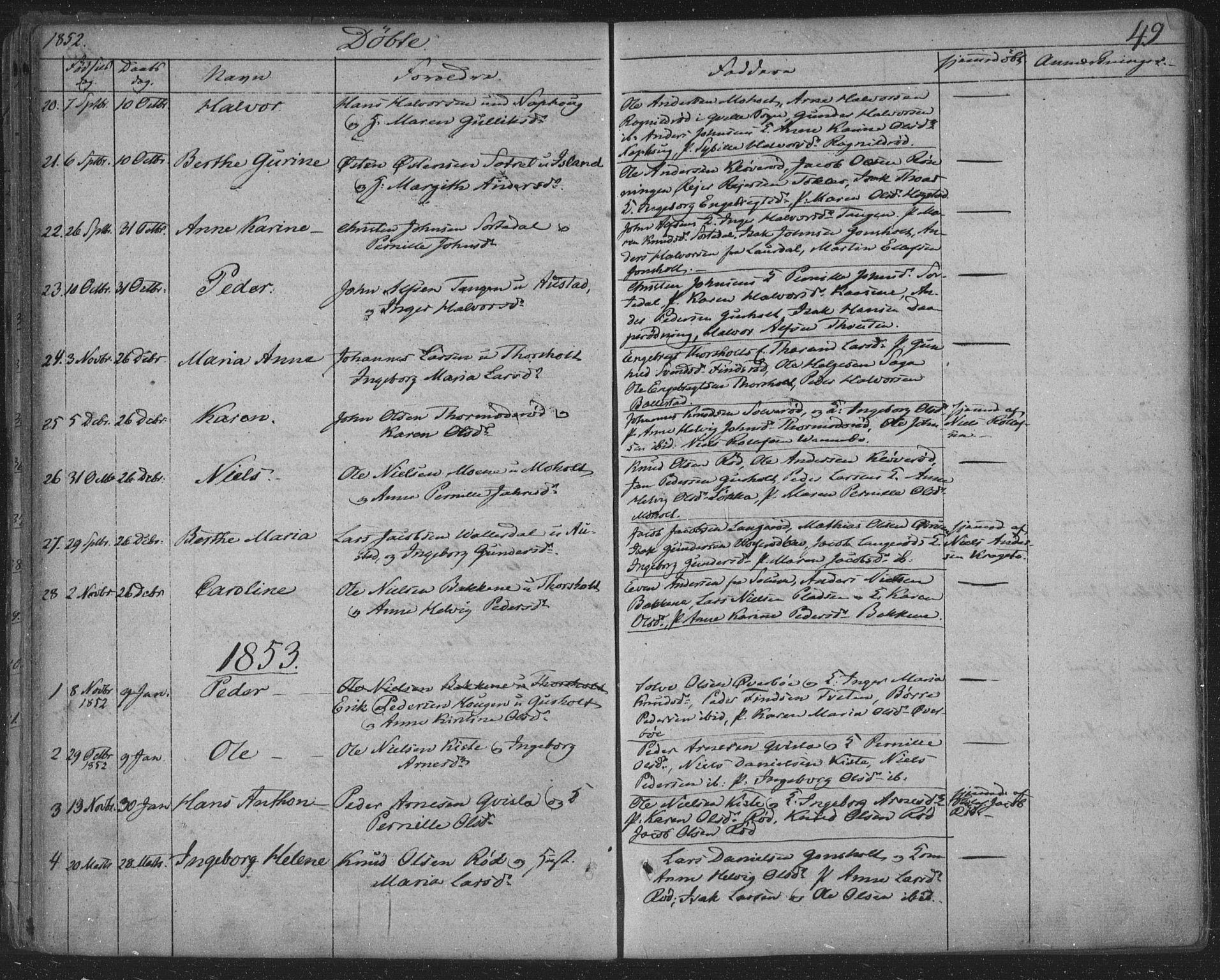 SAKO, Siljan kirkebøker, F/Fa/L0001: Ministerialbok nr. 1, 1831-1870, s. 49