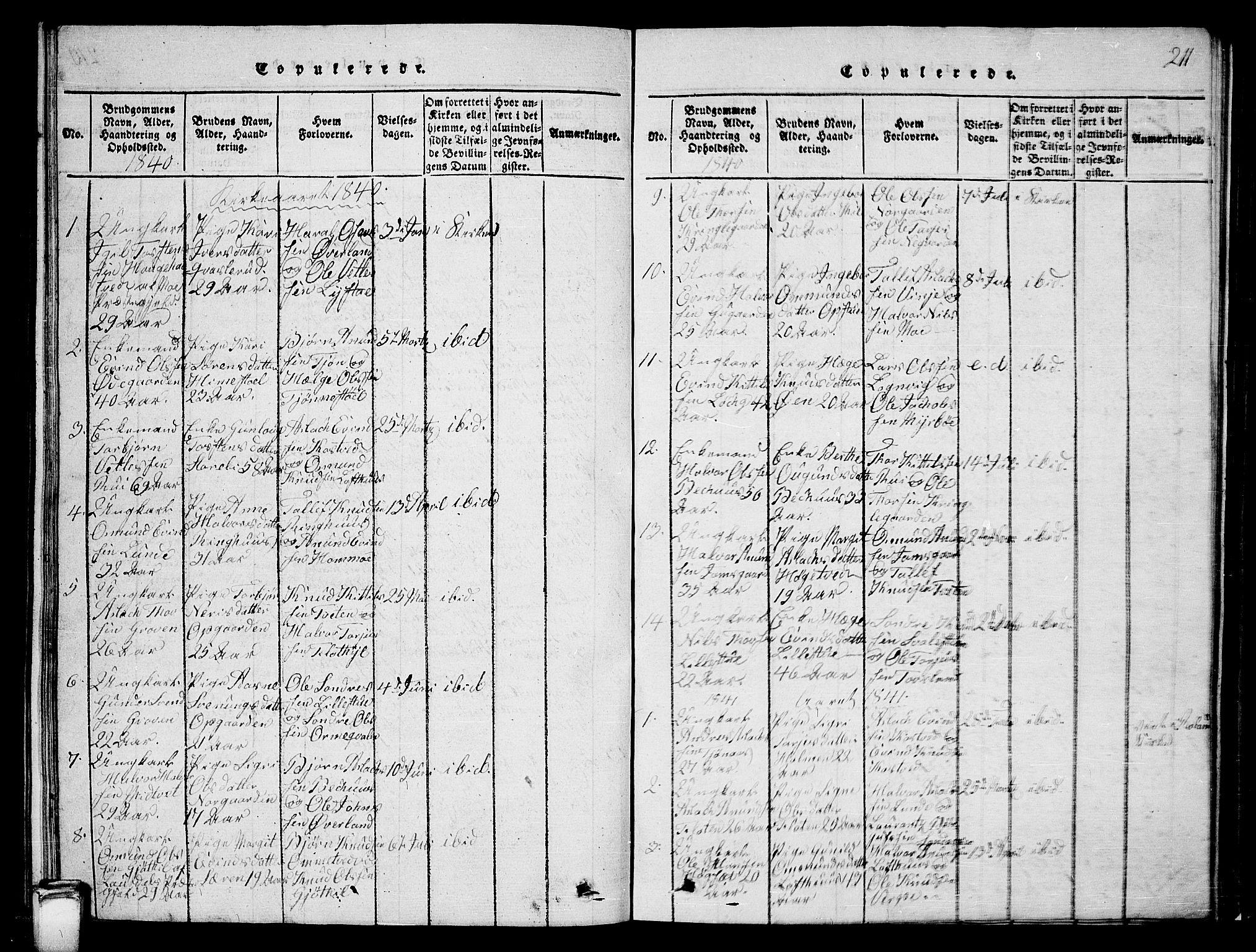 SAKO, Vinje kirkebøker, G/Ga/L0001: Klokkerbok nr. I 1, 1814-1843, s. 211