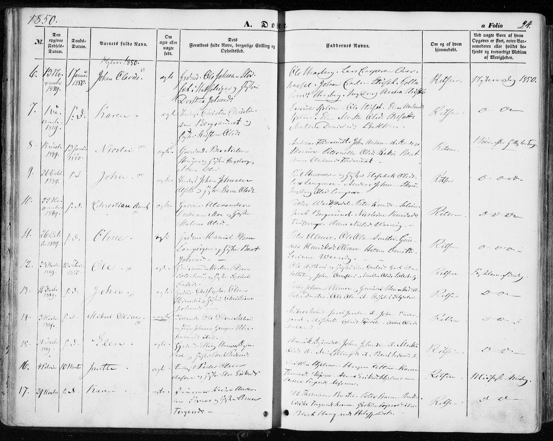 SAT, Ministerialprotokoller, klokkerbøker og fødselsregistre - Sør-Trøndelag, 646/L0611: Ministerialbok nr. 646A09, 1848-1857, s. 24