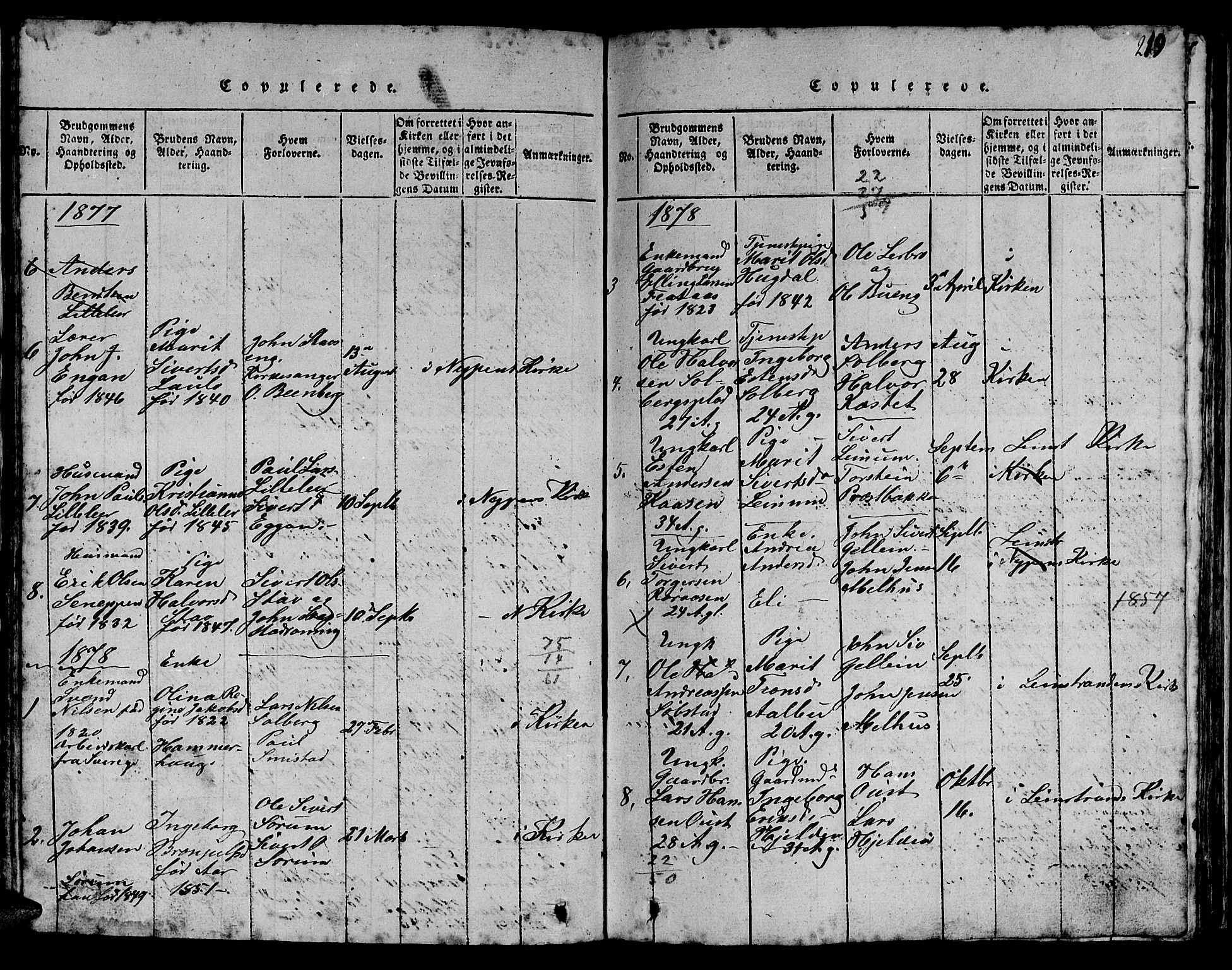 SAT, Ministerialprotokoller, klokkerbøker og fødselsregistre - Sør-Trøndelag, 613/L0393: Klokkerbok nr. 613C01, 1816-1886, s. 219