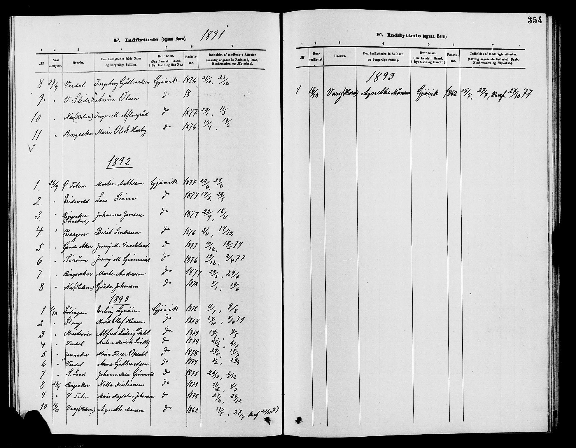 SAH, Vardal prestekontor, H/Ha/Hab/L0007: Klokkerbok nr. 7 /2, 1881-1895, s. 354
