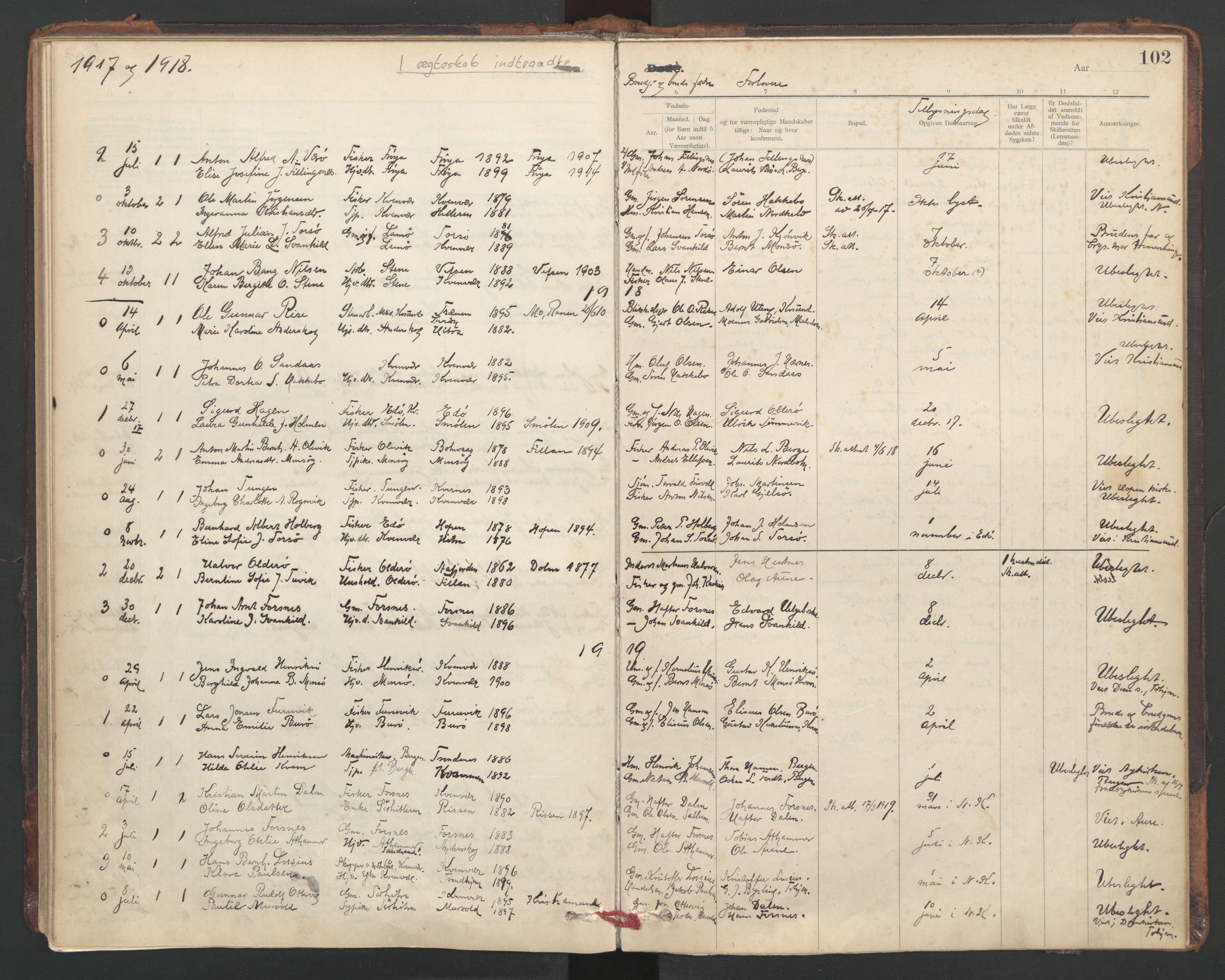 SAT, Ministerialprotokoller, klokkerbøker og fødselsregistre - Sør-Trøndelag, 635/L0552: Ministerialbok nr. 635A02, 1899-1919, s. 102
