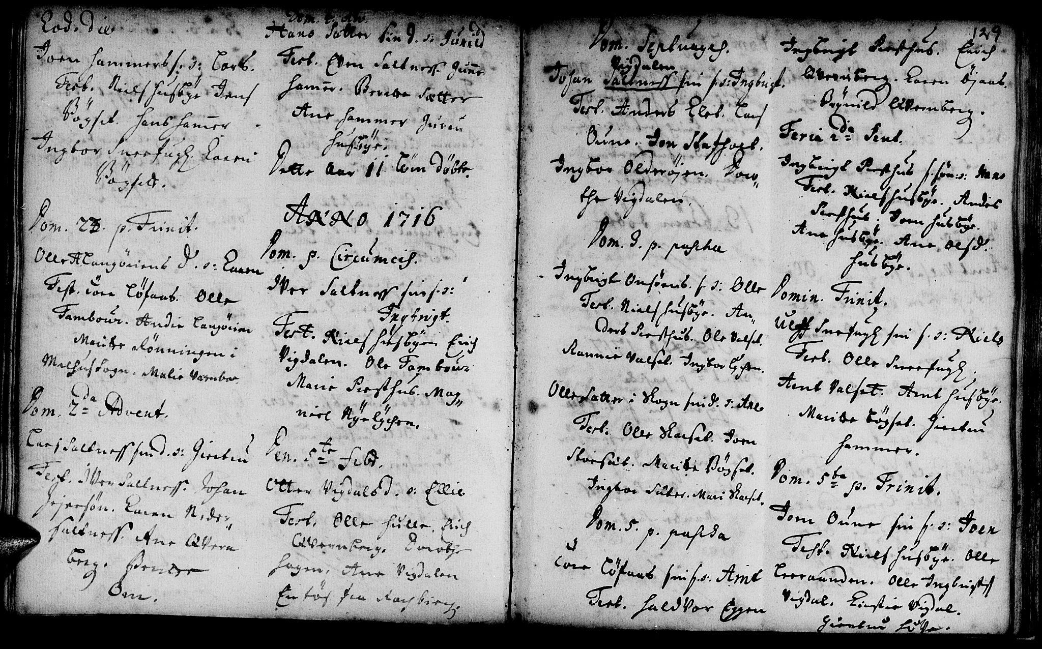SAT, Ministerialprotokoller, klokkerbøker og fødselsregistre - Sør-Trøndelag, 666/L0783: Ministerialbok nr. 666A01, 1702-1753, s. 129