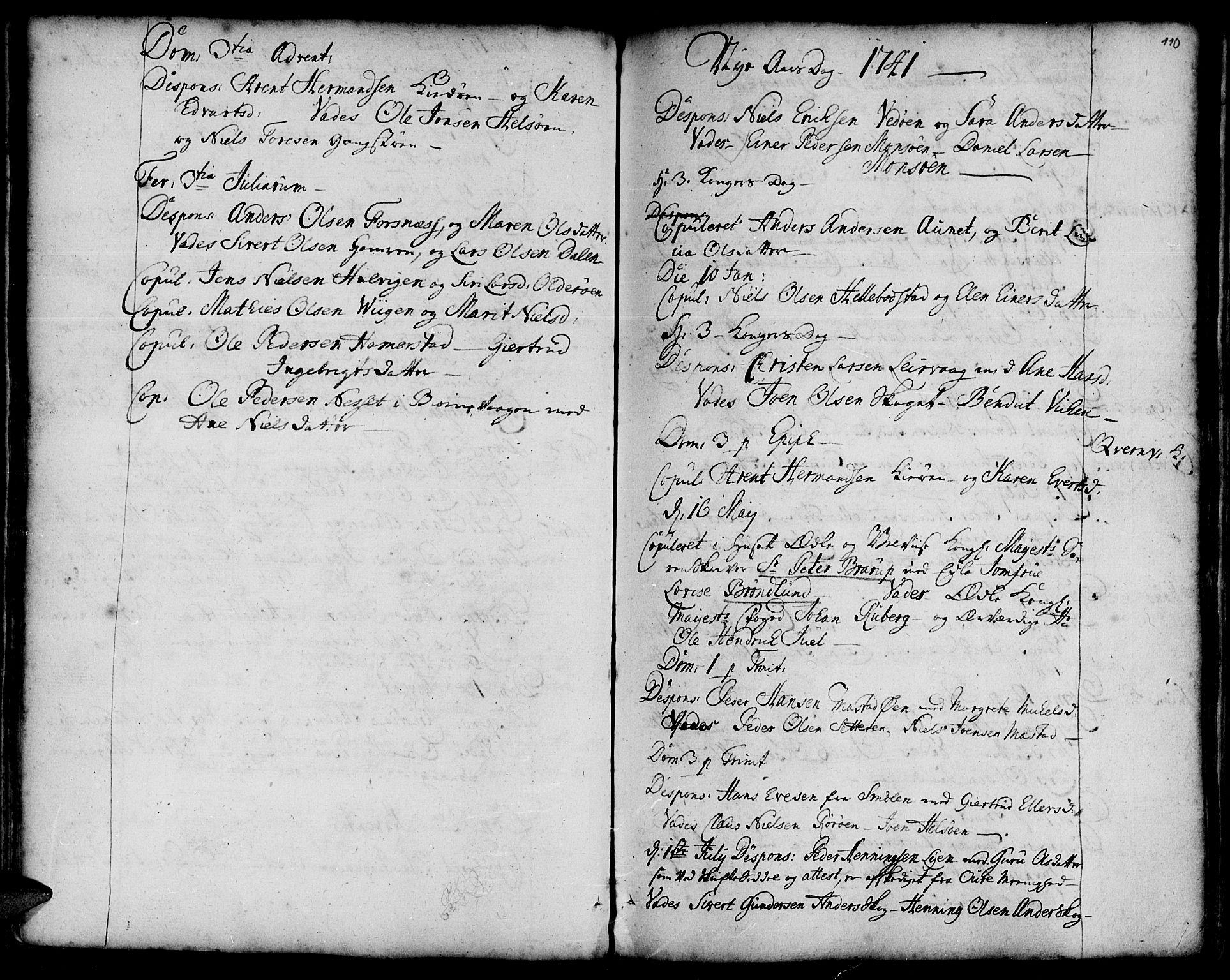 SAT, Ministerialprotokoller, klokkerbøker og fødselsregistre - Sør-Trøndelag, 634/L0525: Ministerialbok nr. 634A01, 1736-1775, s. 110