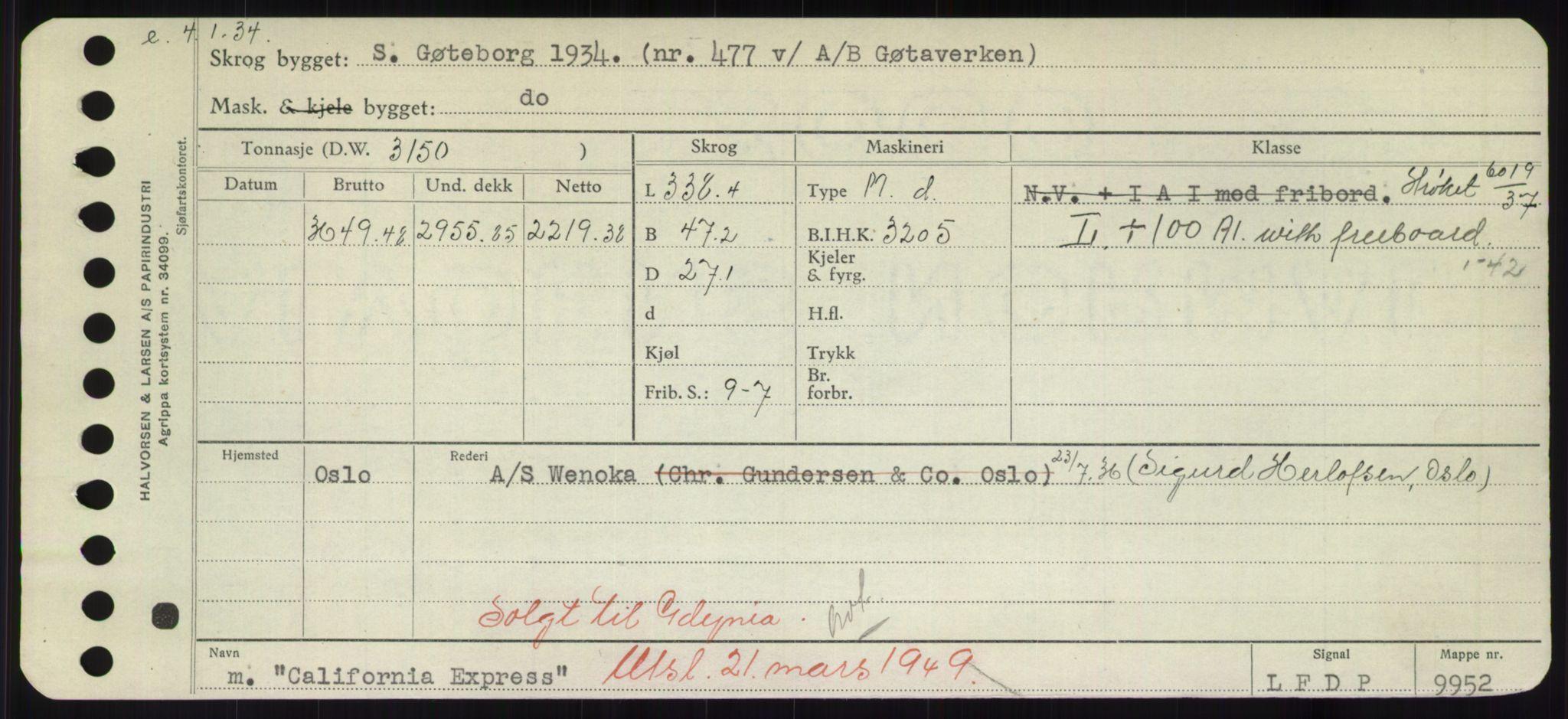 RA, Sjøfartsdirektoratet med forløpere, Skipsmålingen, H/Hd/L0008: Fartøy, C-D, s. 19