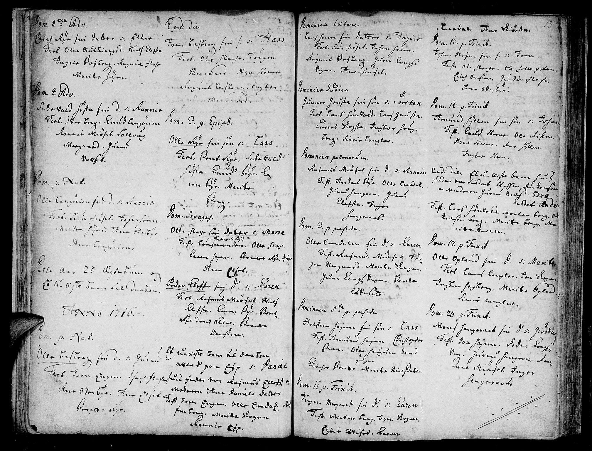 SAT, Ministerialprotokoller, klokkerbøker og fødselsregistre - Sør-Trøndelag, 612/L0368: Ministerialbok nr. 612A02, 1702-1753, s. 13