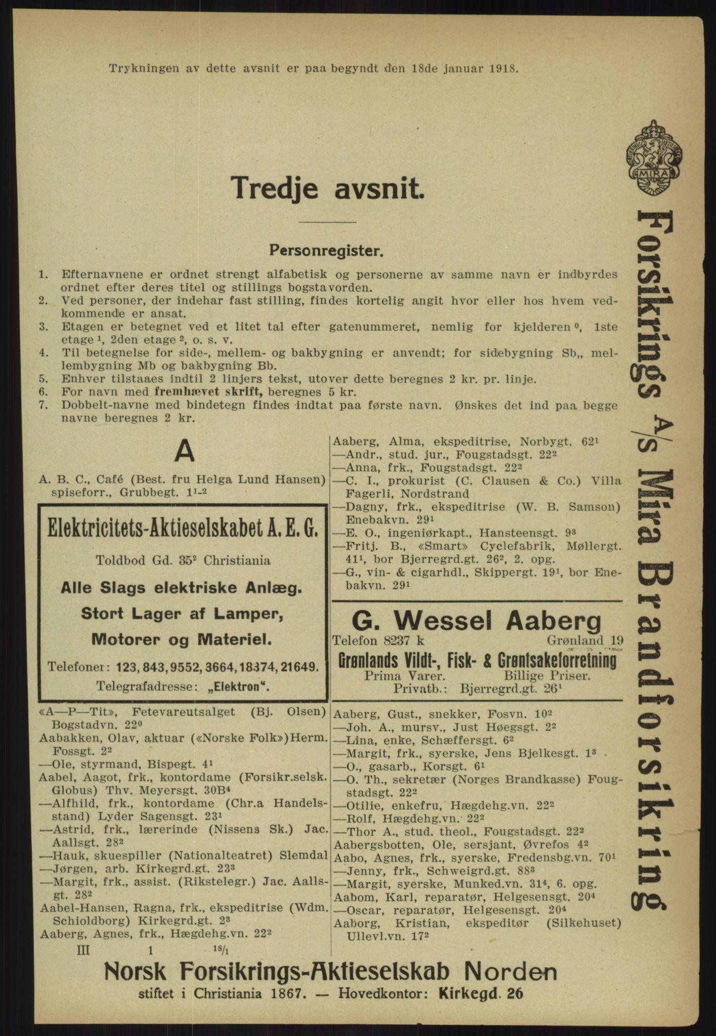 PUBL, Kristiania/Oslo adressebok, 1918, s. 248