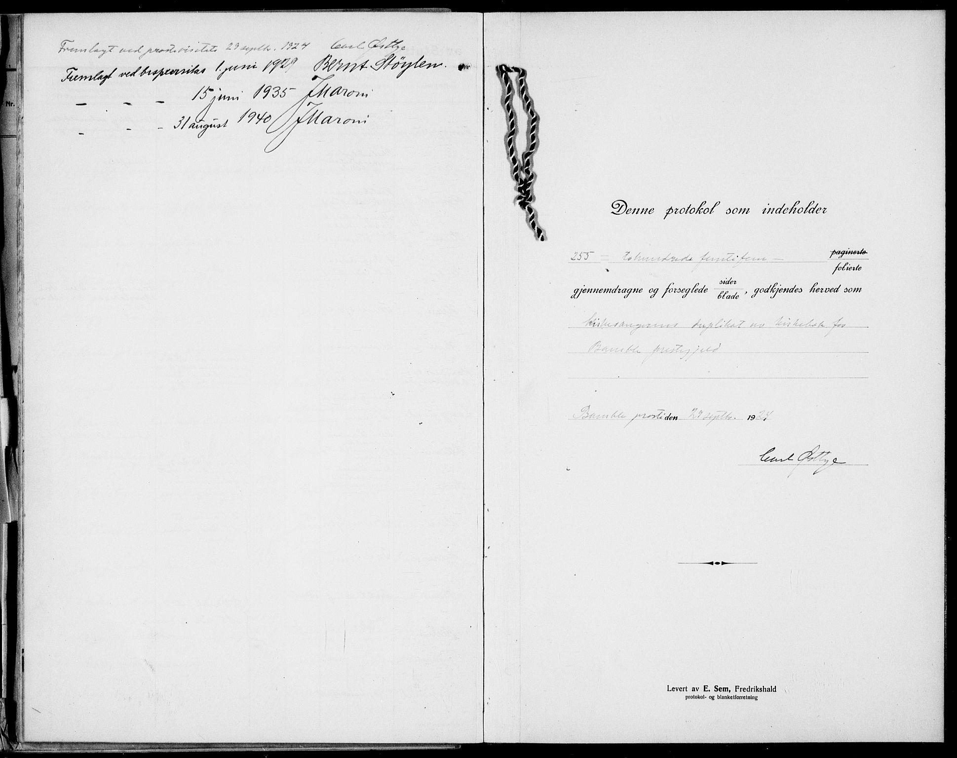 SAKO, Bamble kirkebøker, G/Ga/L0011: Klokkerbok nr. I 11, 1920-1935