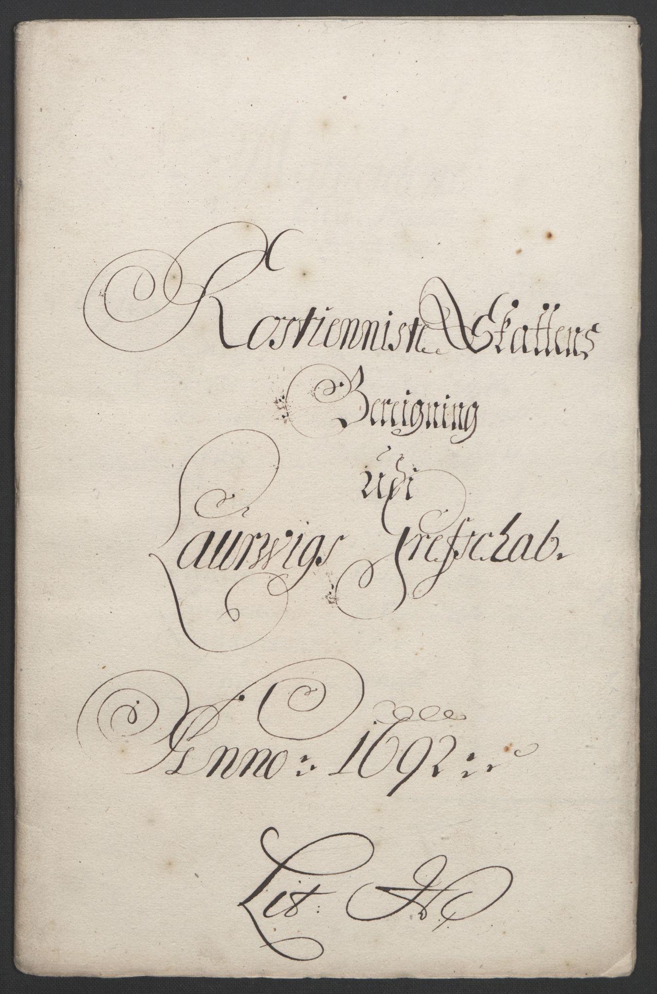 RA, Rentekammeret inntil 1814, Reviderte regnskaper, Fogderegnskap, R33/L1973: Fogderegnskap Larvik grevskap, 1692, s. 146