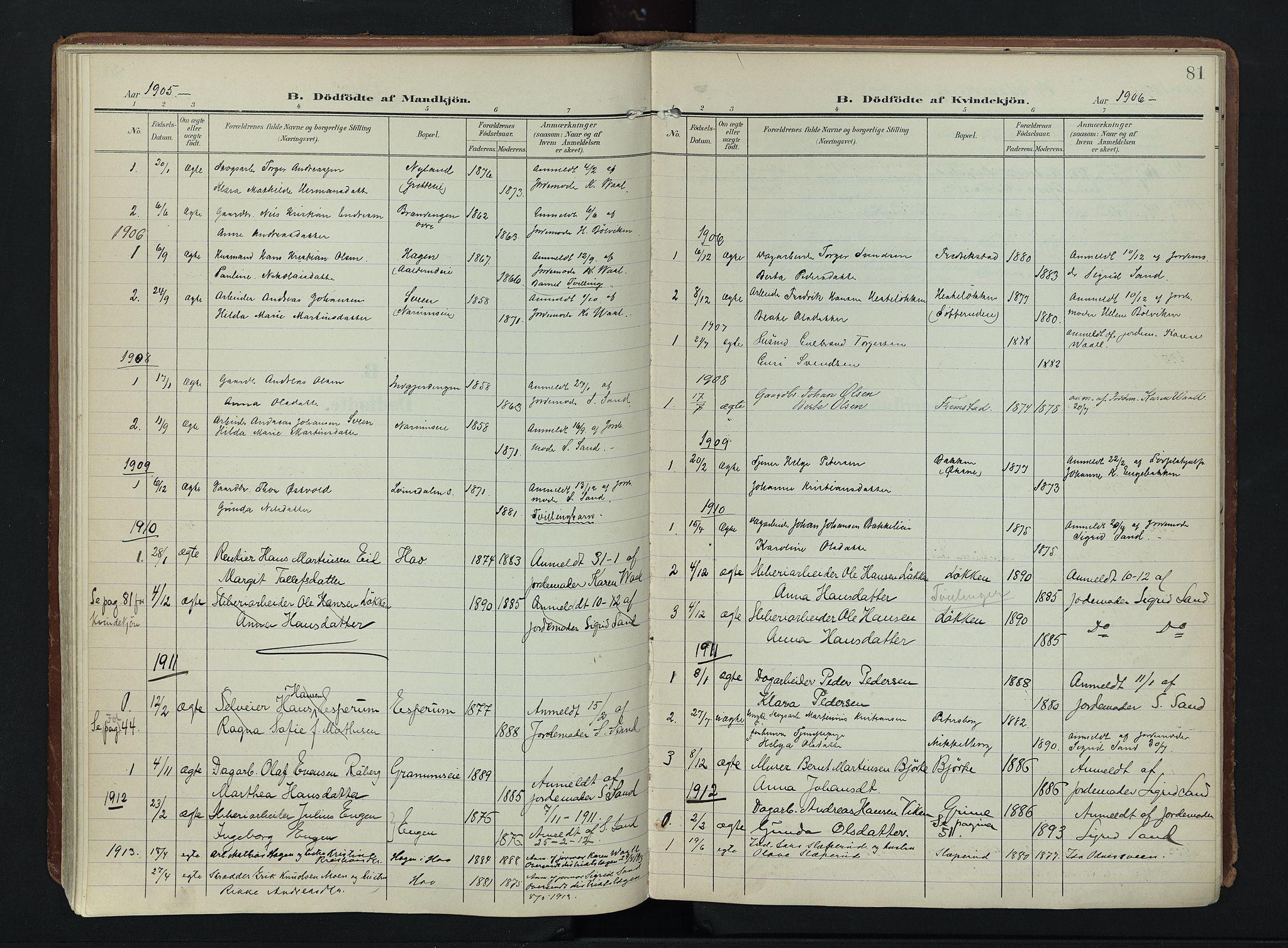 SAH, Søndre Land prestekontor, K/L0007: Ministerialbok nr. 7, 1905-1914, s. 81