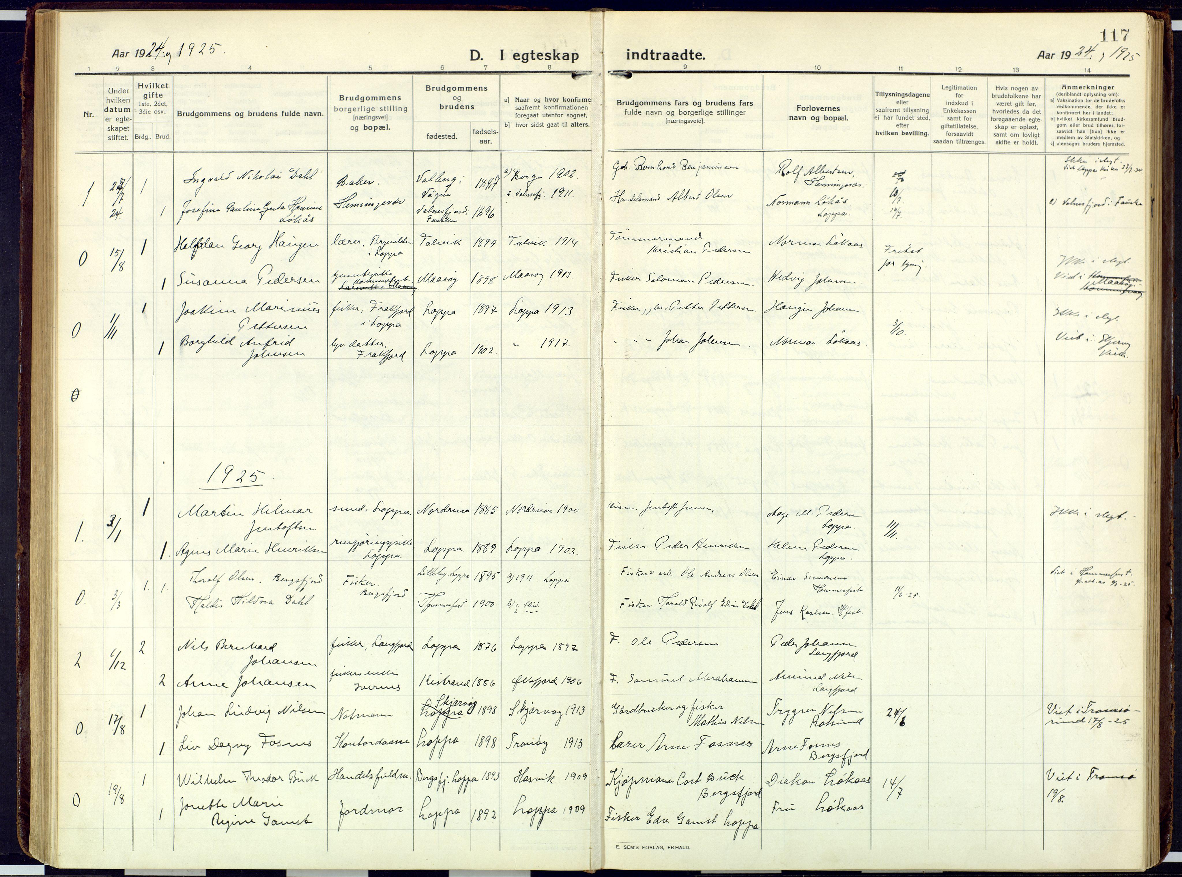 SATØ, Loppa sokneprestkontor, H/Ha/L0013kirke: Ministerialbok nr. 13, 1920-1932, s. 117