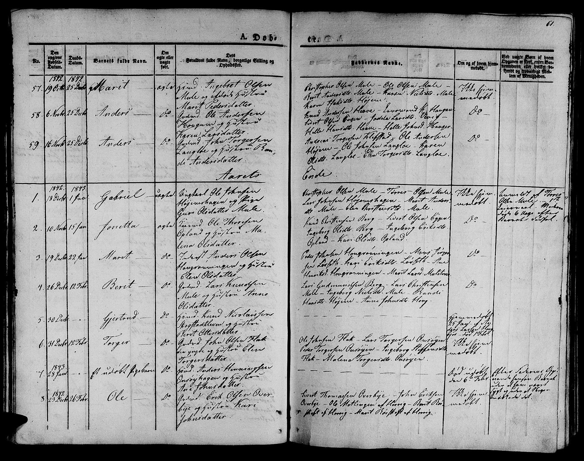 SAT, Ministerialprotokoller, klokkerbøker og fødselsregistre - Sør-Trøndelag, 612/L0374: Ministerialbok nr. 612A07 /1, 1829-1845, s. 61