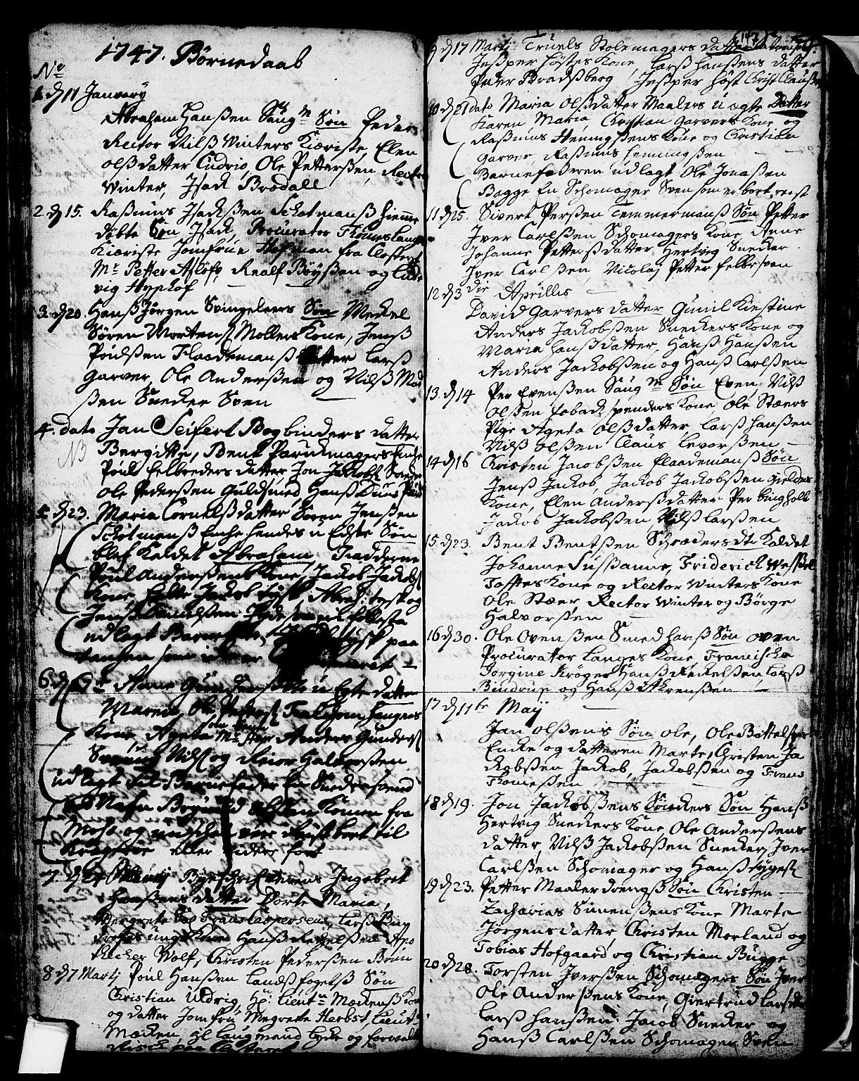 SAKO, Skien kirkebøker, F/Fa/L0002: Ministerialbok nr. 2, 1716-1757, s. 147