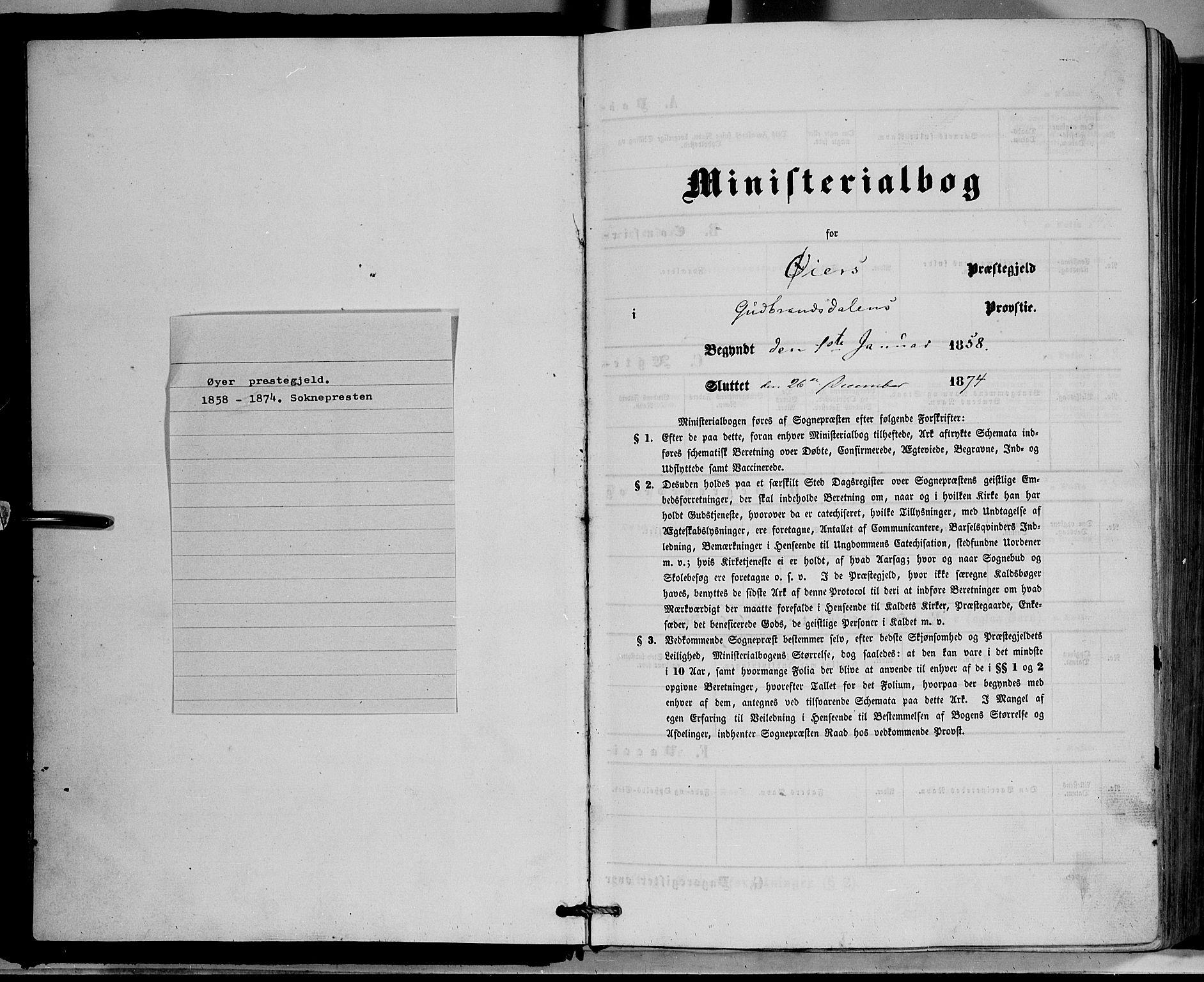 SAH, Øyer prestekontor, Ministerialbok nr. 6, 1858-1874