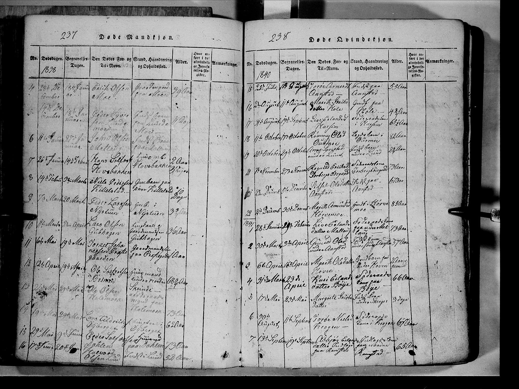 SAH, Lom prestekontor, L/L0003: Klokkerbok nr. 3, 1815-1844, s. 237-238