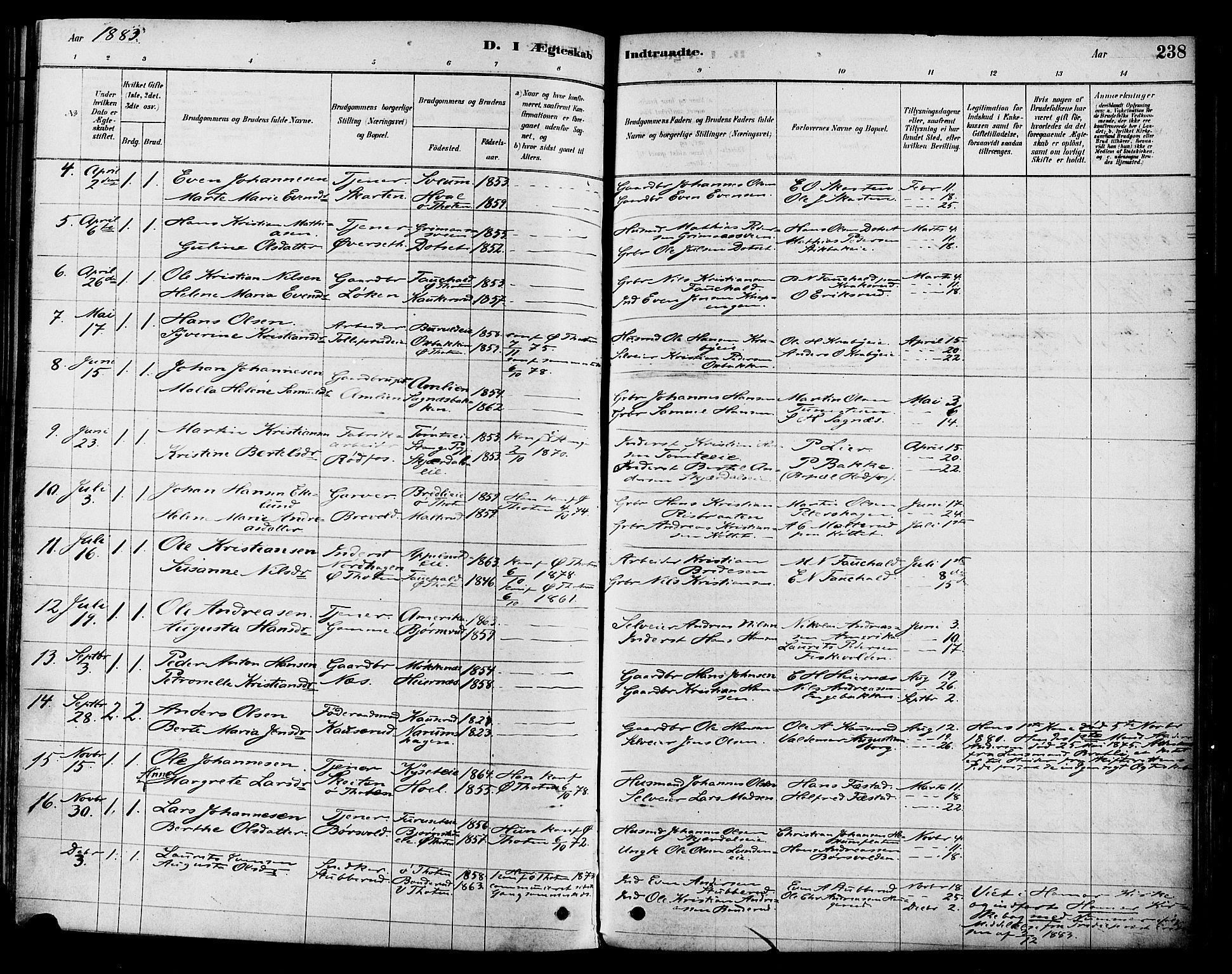 SAH, Vestre Toten prestekontor, H/Ha/Haa/L0009: Ministerialbok nr. 9, 1878-1894, s. 238
