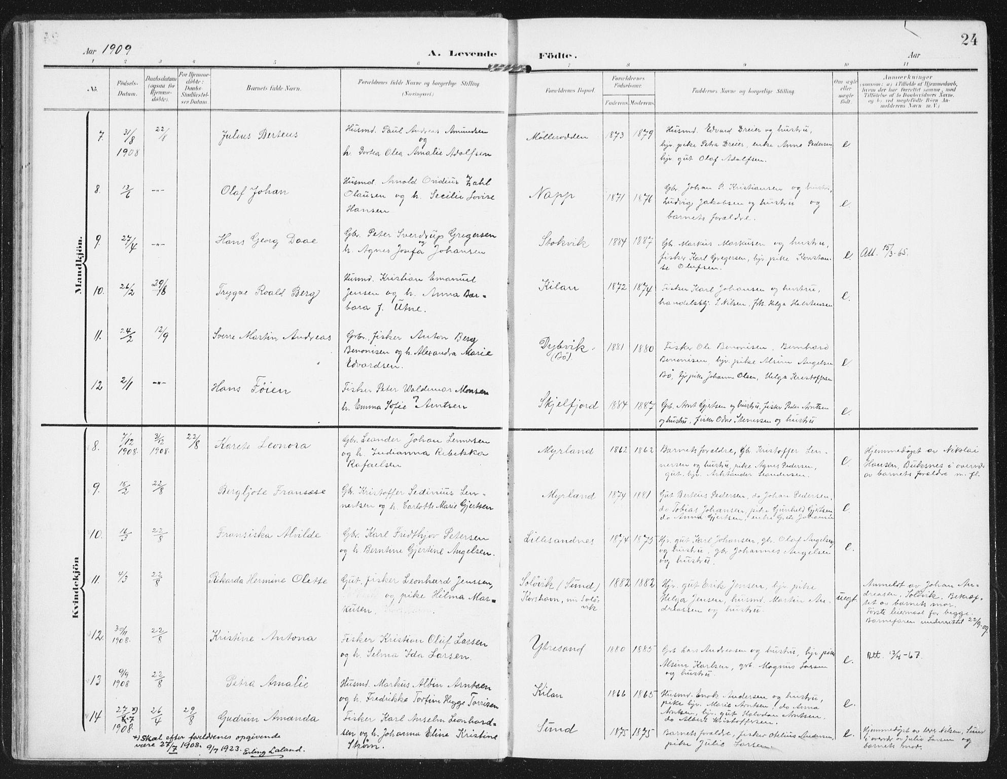 SAT, Ministerialprotokoller, klokkerbøker og fødselsregistre - Nordland, 885/L1206: Ministerialbok nr. 885A07, 1905-1915, s. 24