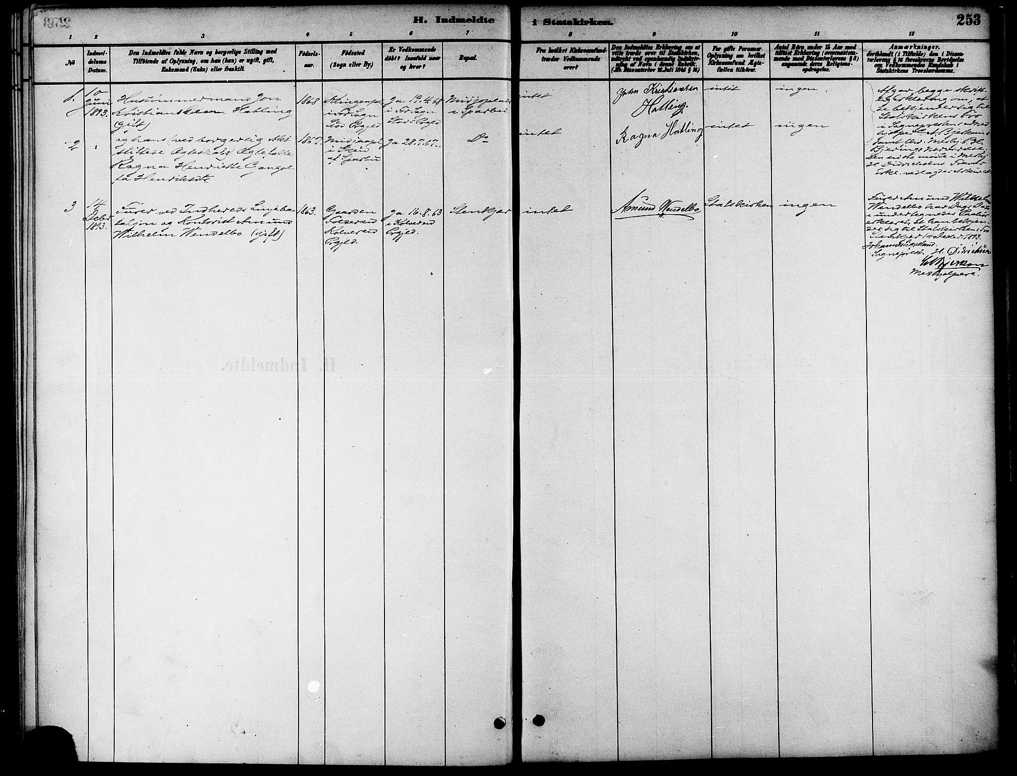 SAT, Ministerialprotokoller, klokkerbøker og fødselsregistre - Nord-Trøndelag, 739/L0371: Ministerialbok nr. 739A03, 1881-1895, s. 253