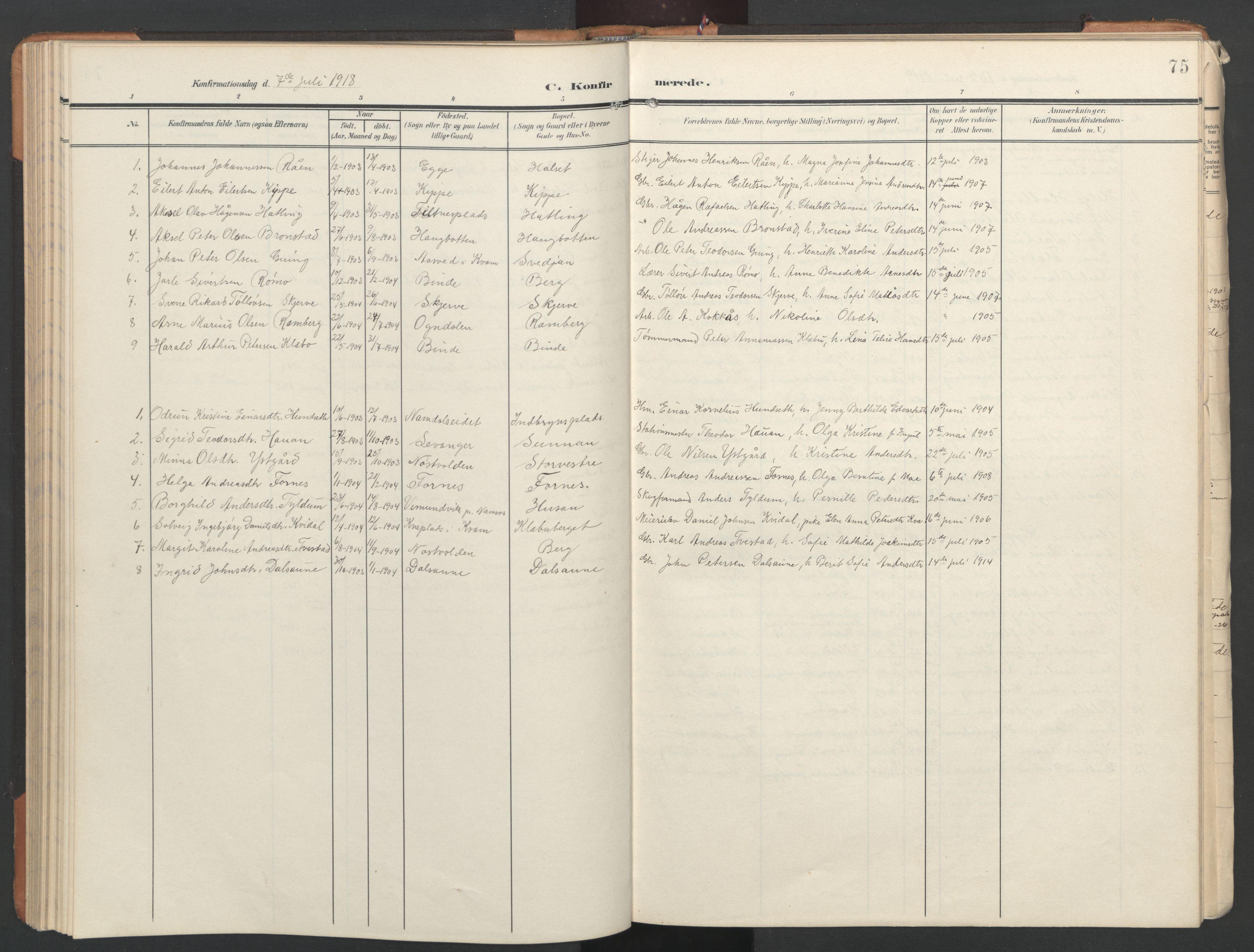 SAT, Ministerialprotokoller, klokkerbøker og fødselsregistre - Nord-Trøndelag, 746/L0455: Klokkerbok nr. 746C01, 1908-1933, s. 75
