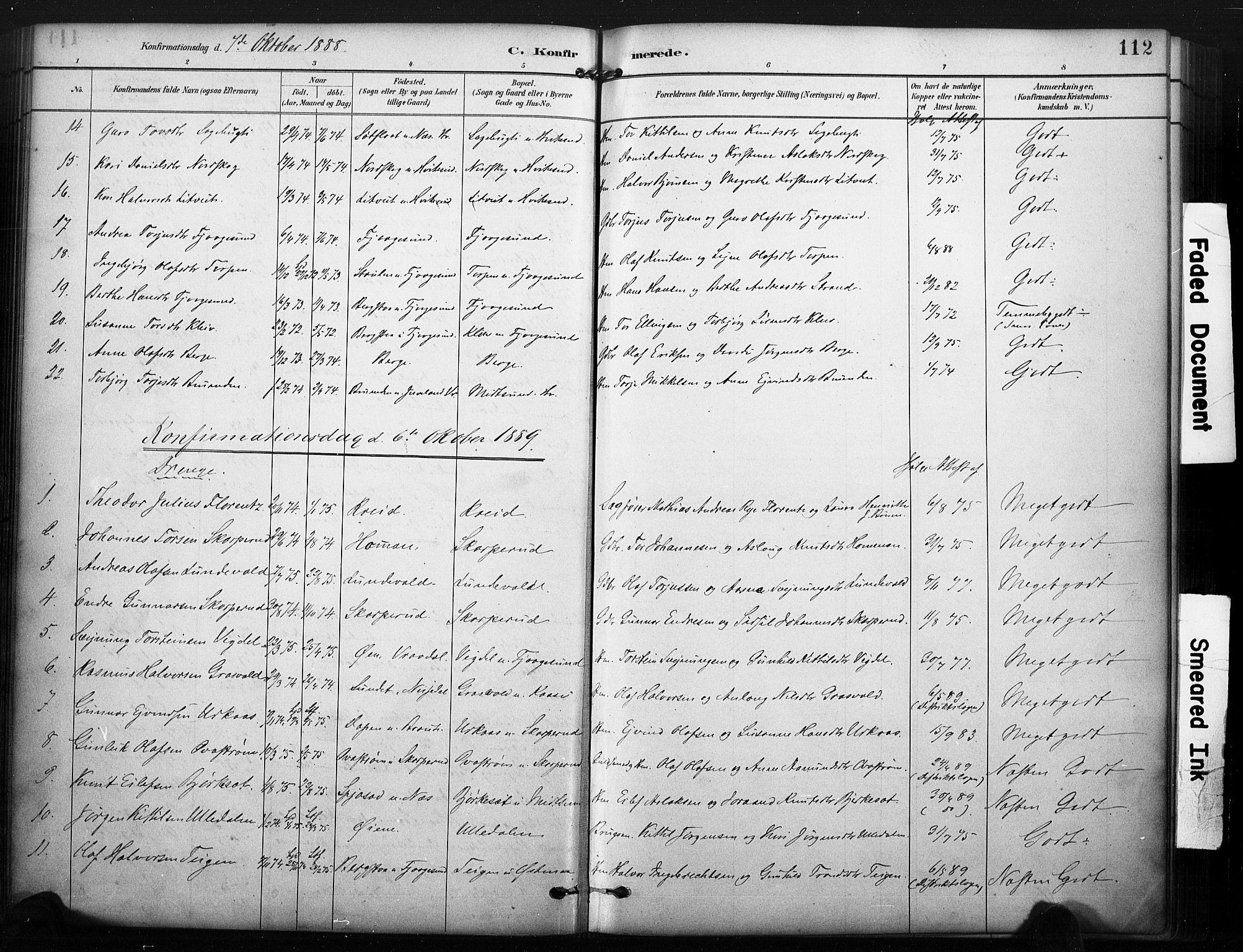 SAKO, Kviteseid kirkebøker, F/Fa/L0008: Ministerialbok nr. I 8, 1882-1903, s. 112