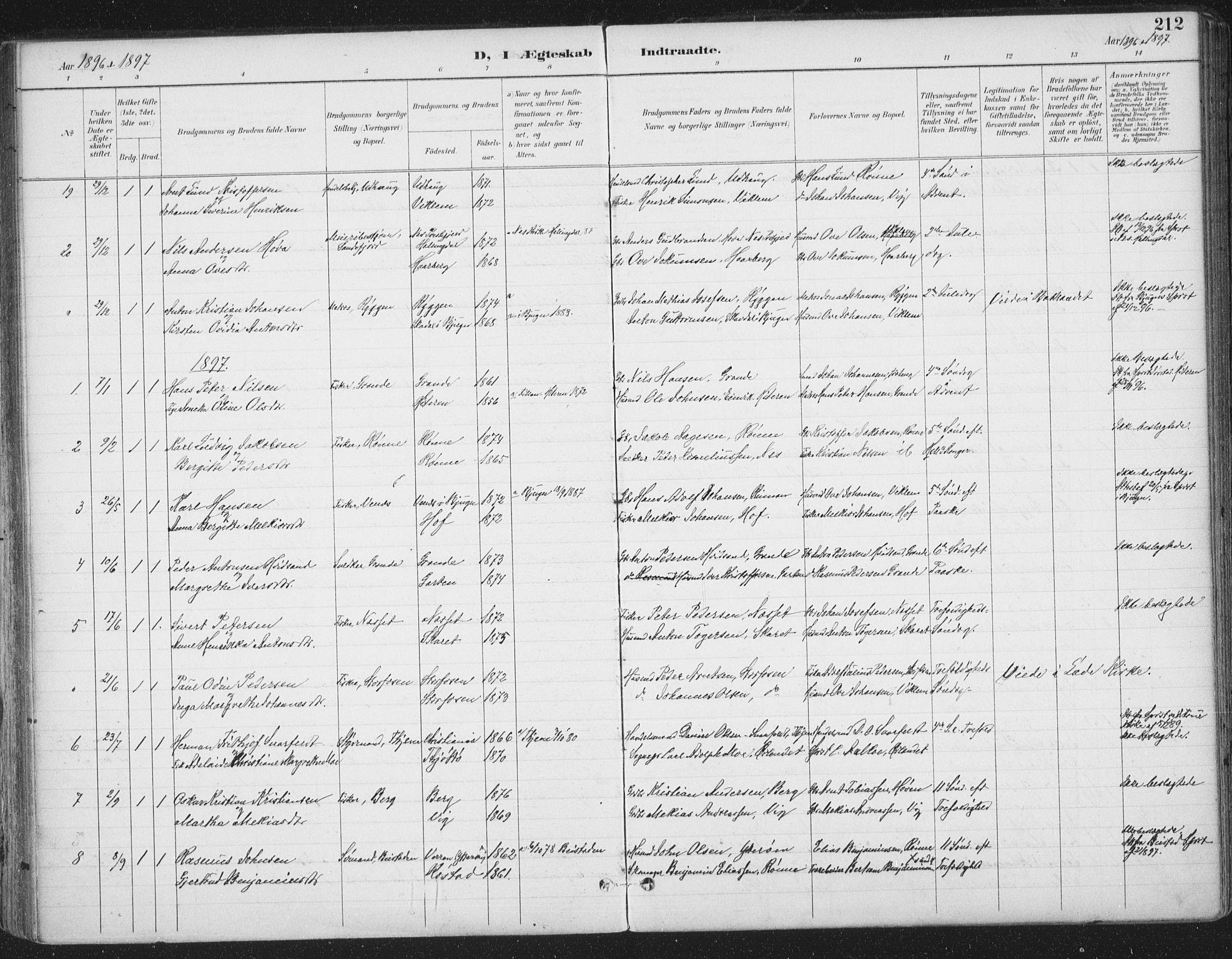 SAT, Ministerialprotokoller, klokkerbøker og fødselsregistre - Sør-Trøndelag, 659/L0743: Ministerialbok nr. 659A13, 1893-1910, s. 212