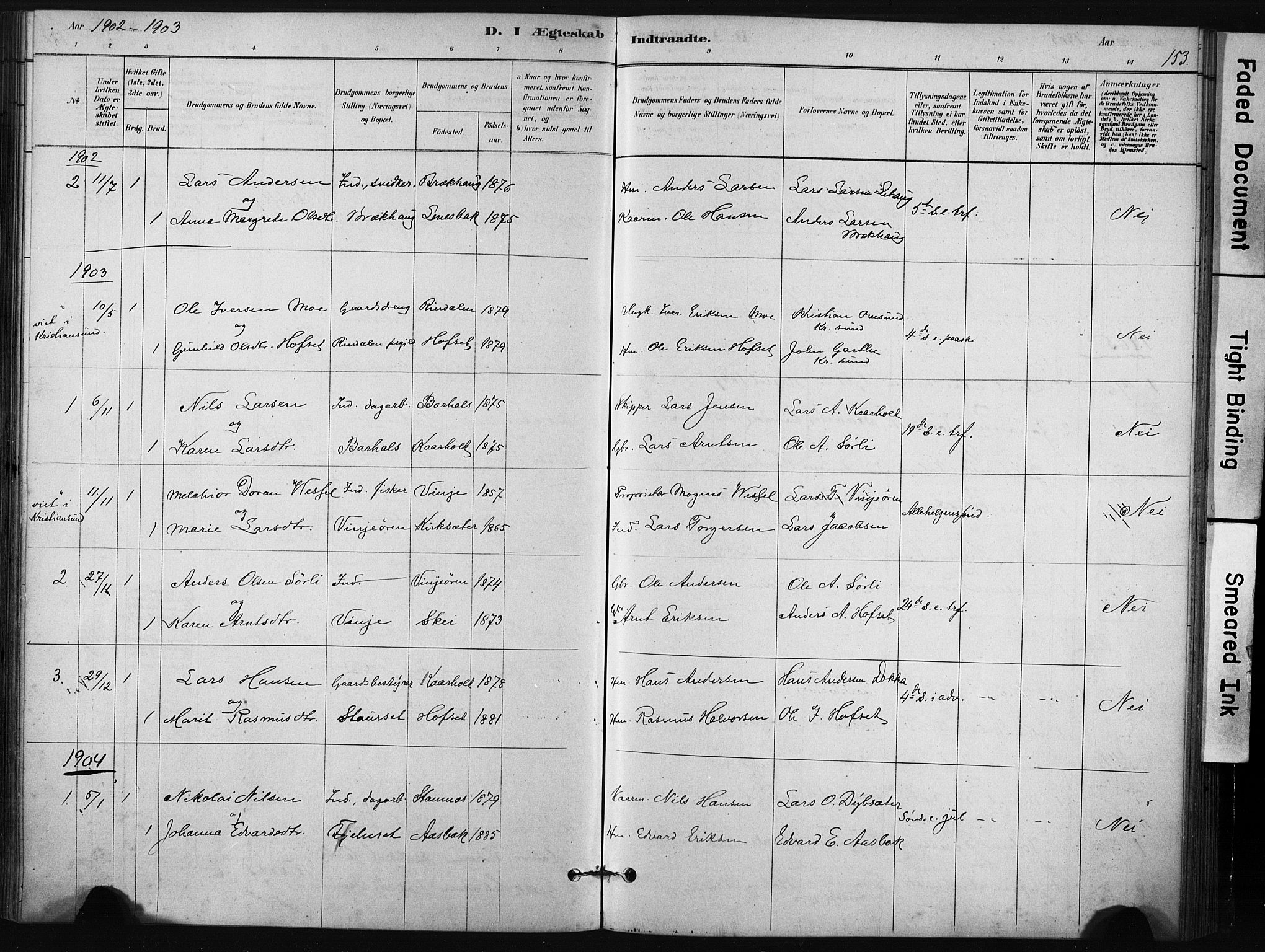 SAT, Ministerialprotokoller, klokkerbøker og fødselsregistre - Sør-Trøndelag, 631/L0512: Ministerialbok nr. 631A01, 1879-1912, s. 153
