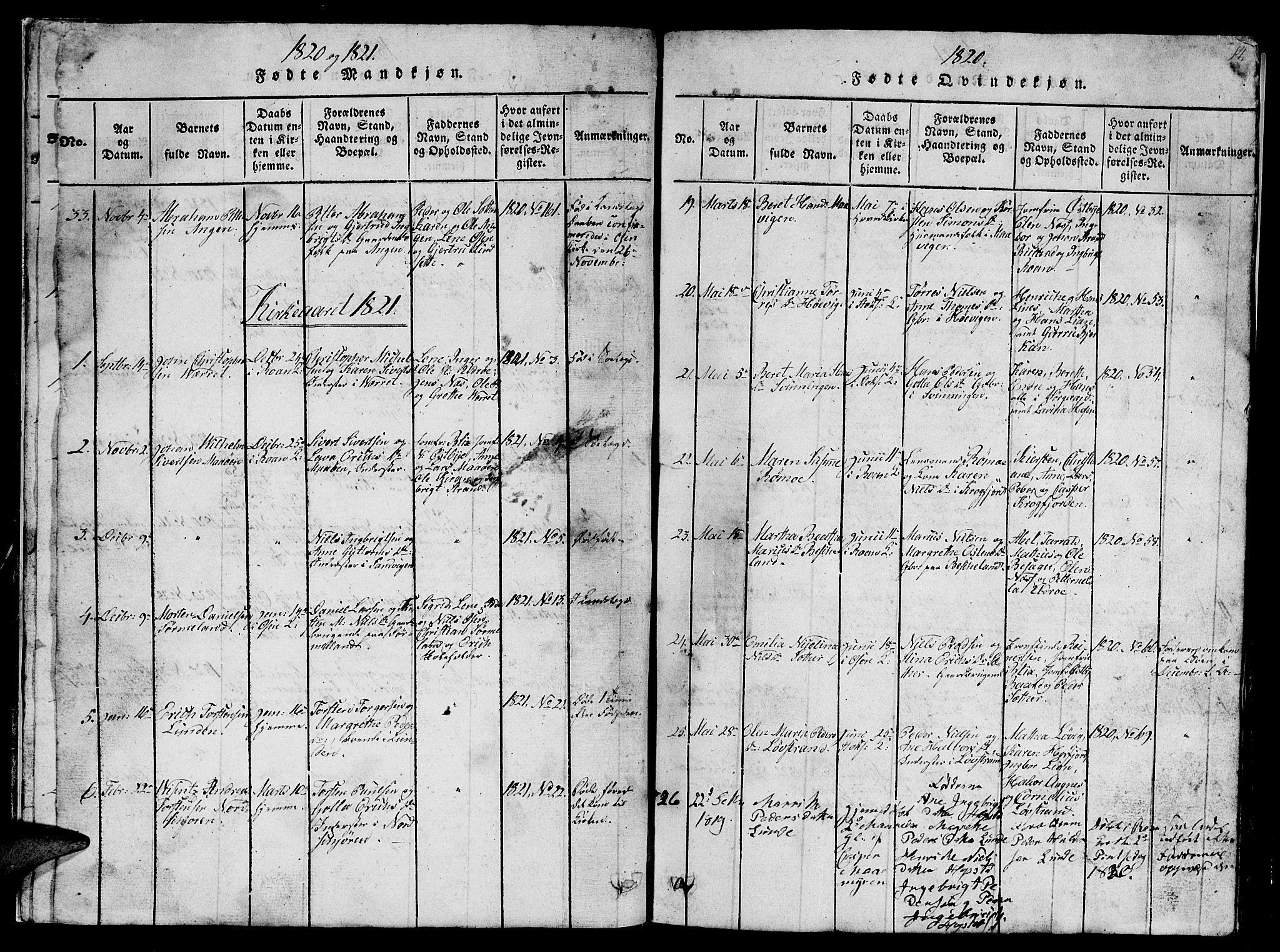 SAT, Ministerialprotokoller, klokkerbøker og fødselsregistre - Sør-Trøndelag, 657/L0714: Klokkerbok nr. 657C01, 1818-1868, s. 14