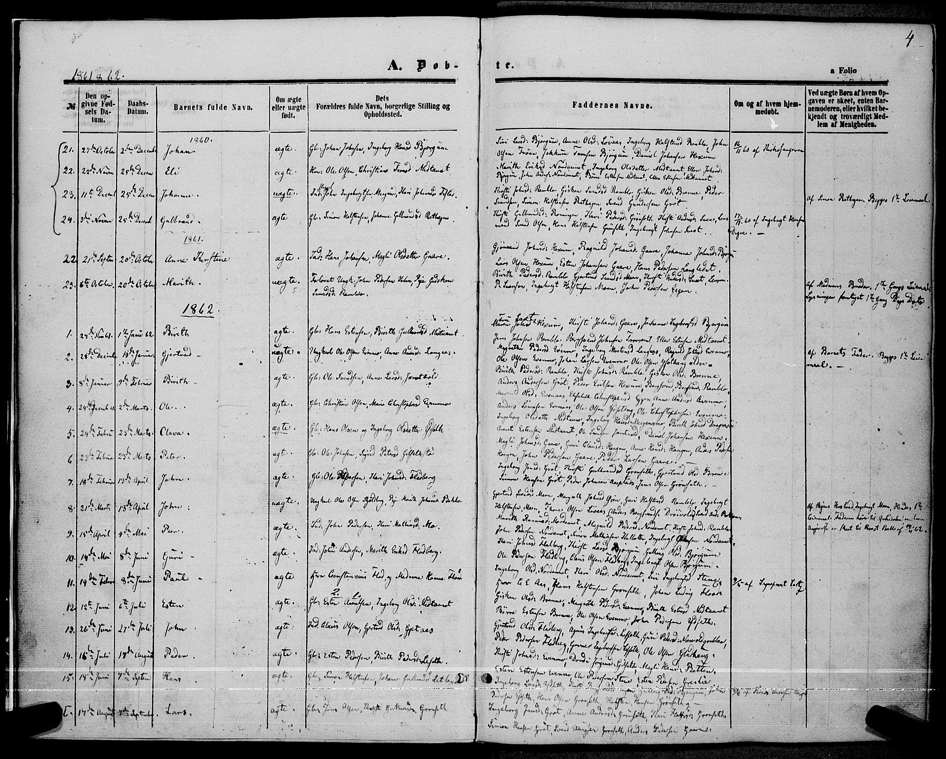 SAT, Ministerialprotokoller, klokkerbøker og fødselsregistre - Sør-Trøndelag, 685/L0966: Ministerialbok nr. 685A07 /1, 1860-1869, s. 4