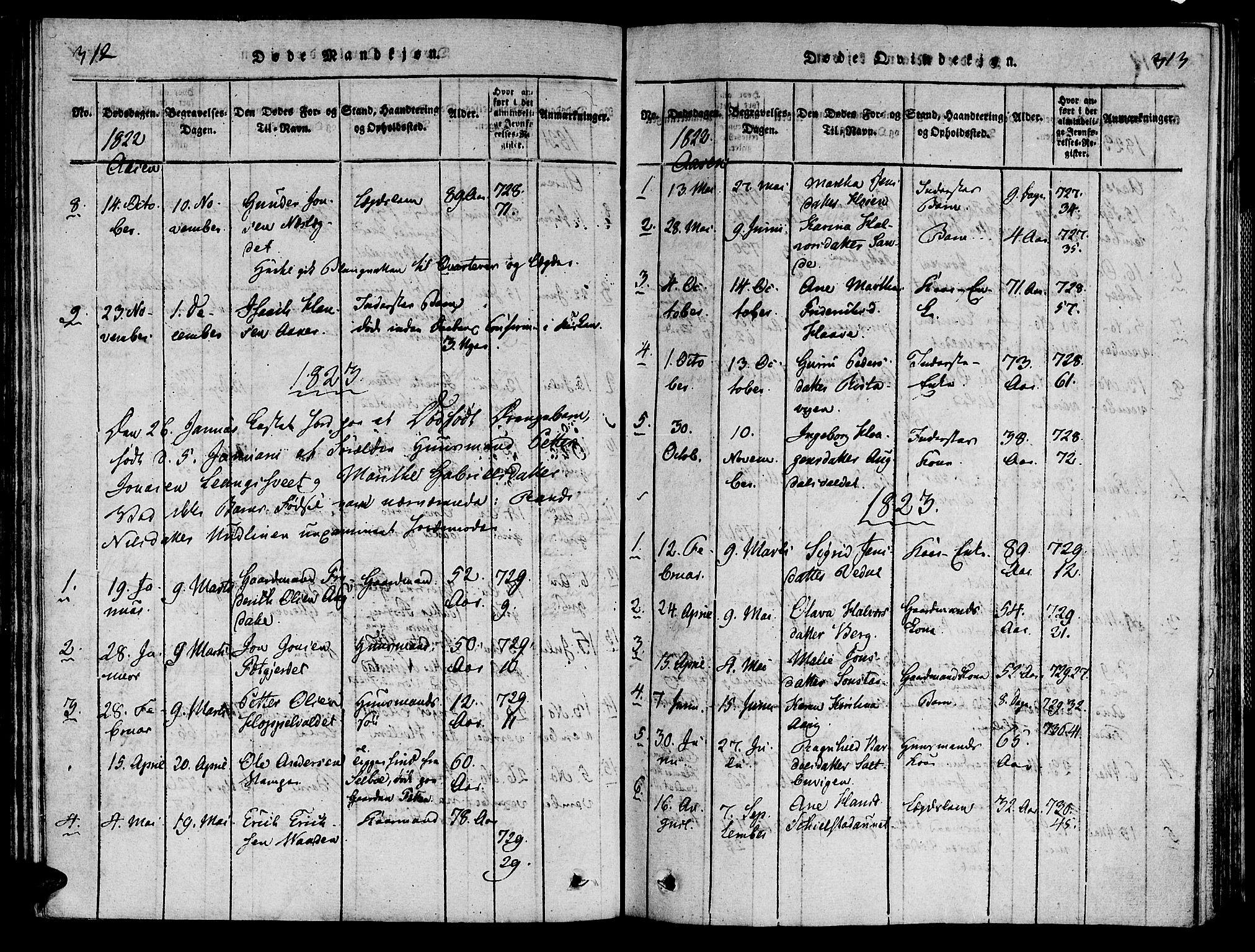SAT, Ministerialprotokoller, klokkerbøker og fødselsregistre - Nord-Trøndelag, 713/L0112: Ministerialbok nr. 713A04 /2, 1817-1827, s. 312-313