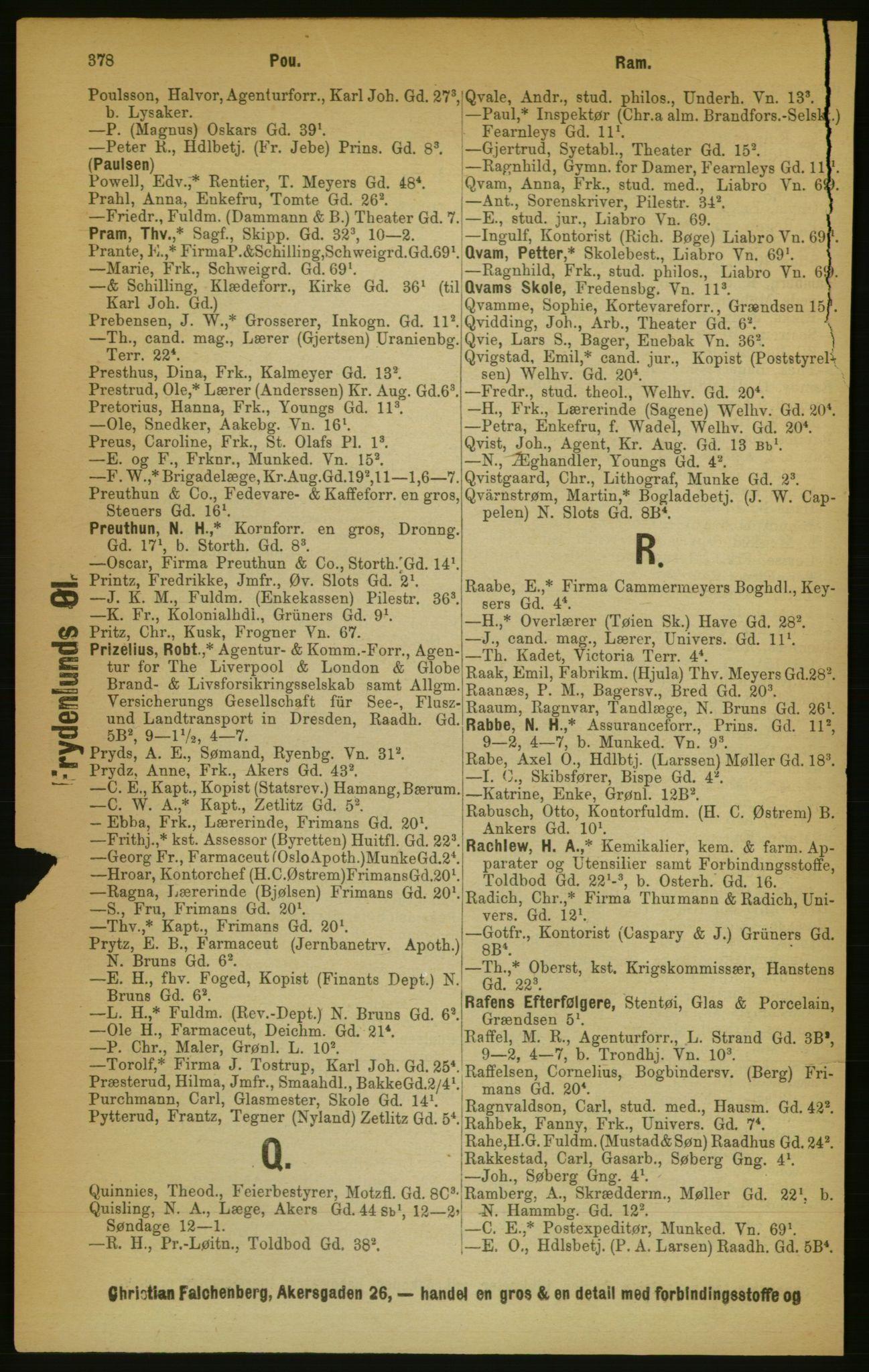 RA, Kristiania adressebok (publikasjon)*, 1889, s. 378