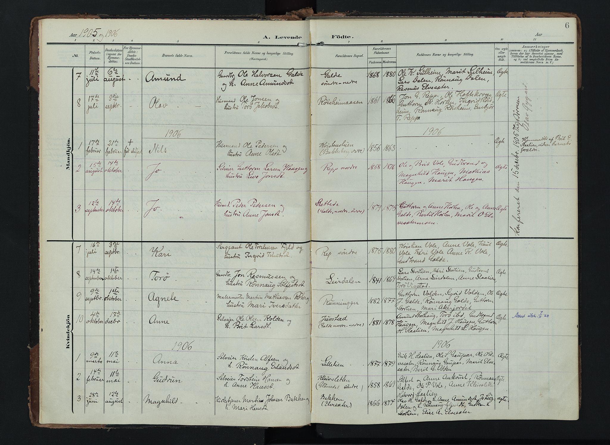 SAH, Lom prestekontor, K/L0012: Ministerialbok nr. 12, 1904-1928, s. 6