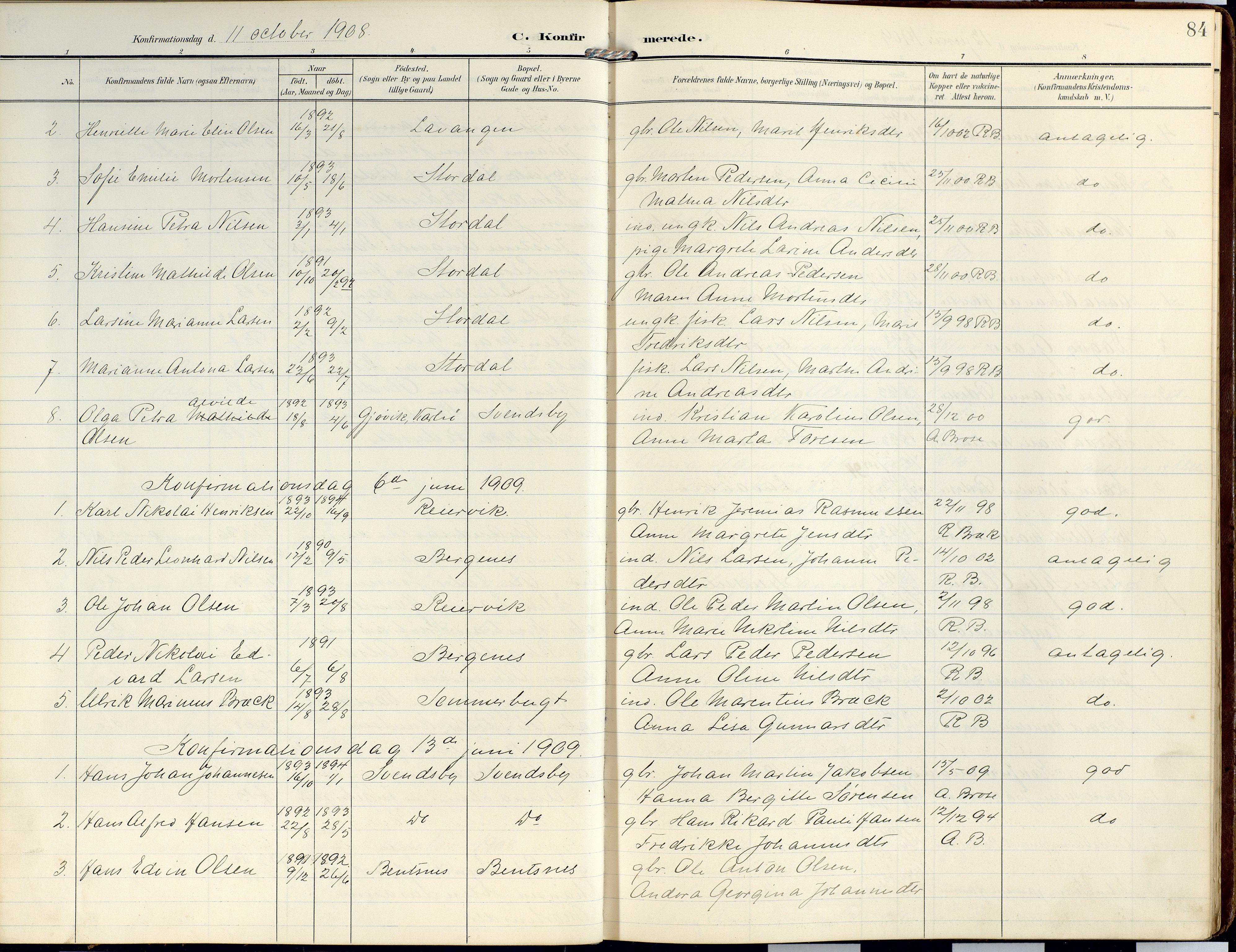 SATØ, Lyngen sokneprestembete, Ministerialbok nr. 14, 1905-1920, s. 84