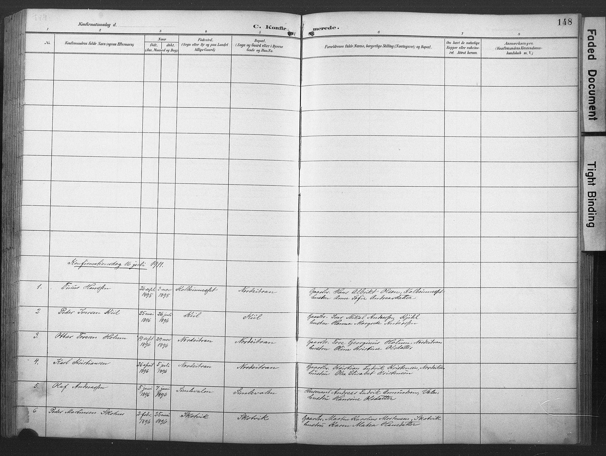 SAT, Ministerialprotokoller, klokkerbøker og fødselsregistre - Nord-Trøndelag, 789/L0706: Klokkerbok nr. 789C01, 1888-1931, s. 148